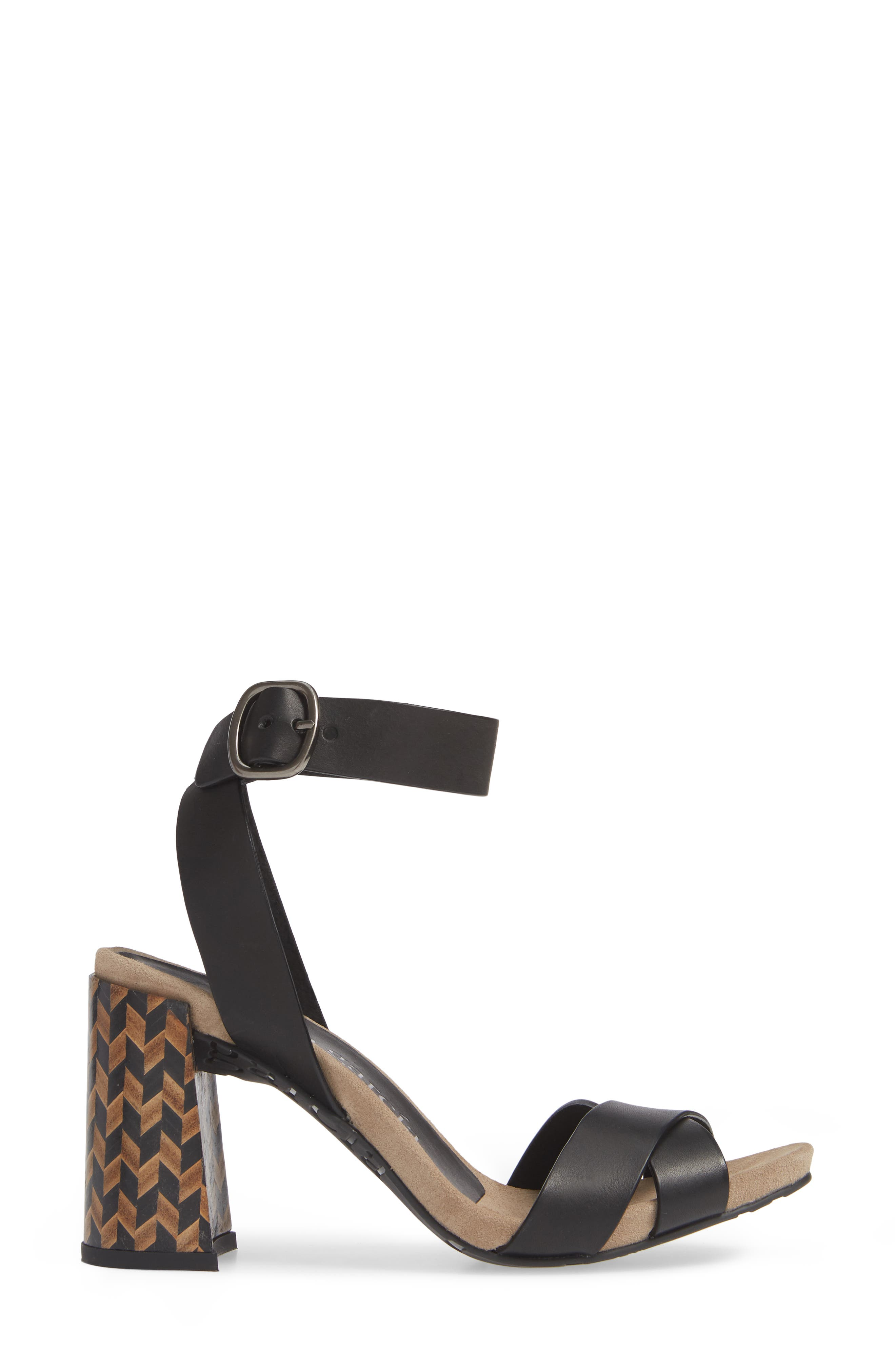 Yemba Embellished Heel Sandal,                             Alternate thumbnail 3, color,                             BLACK VACCHETTA