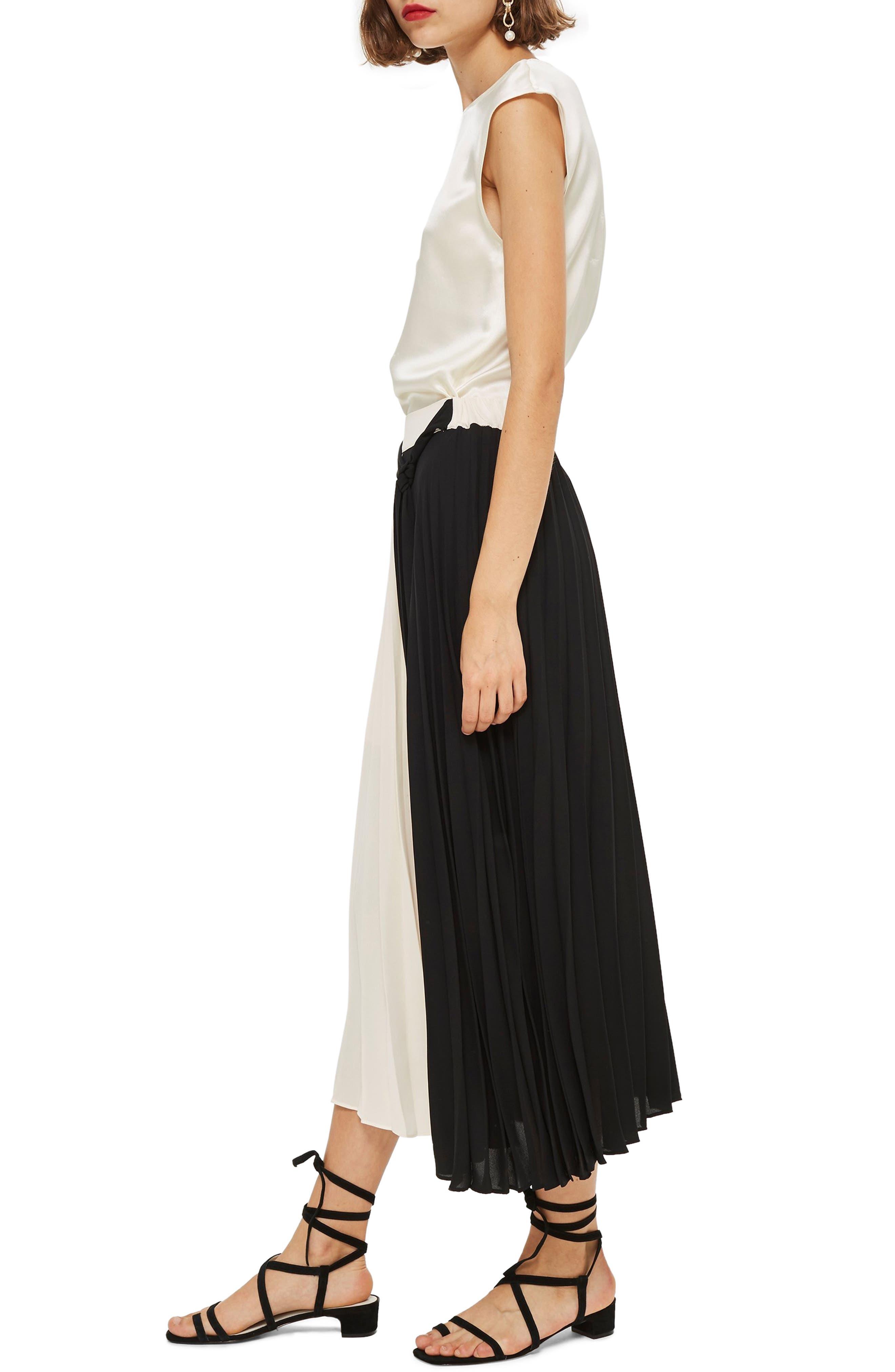 Colorblock Pleated Midi Skirt,                             Alternate thumbnail 3, color,                             BLACK MULTI