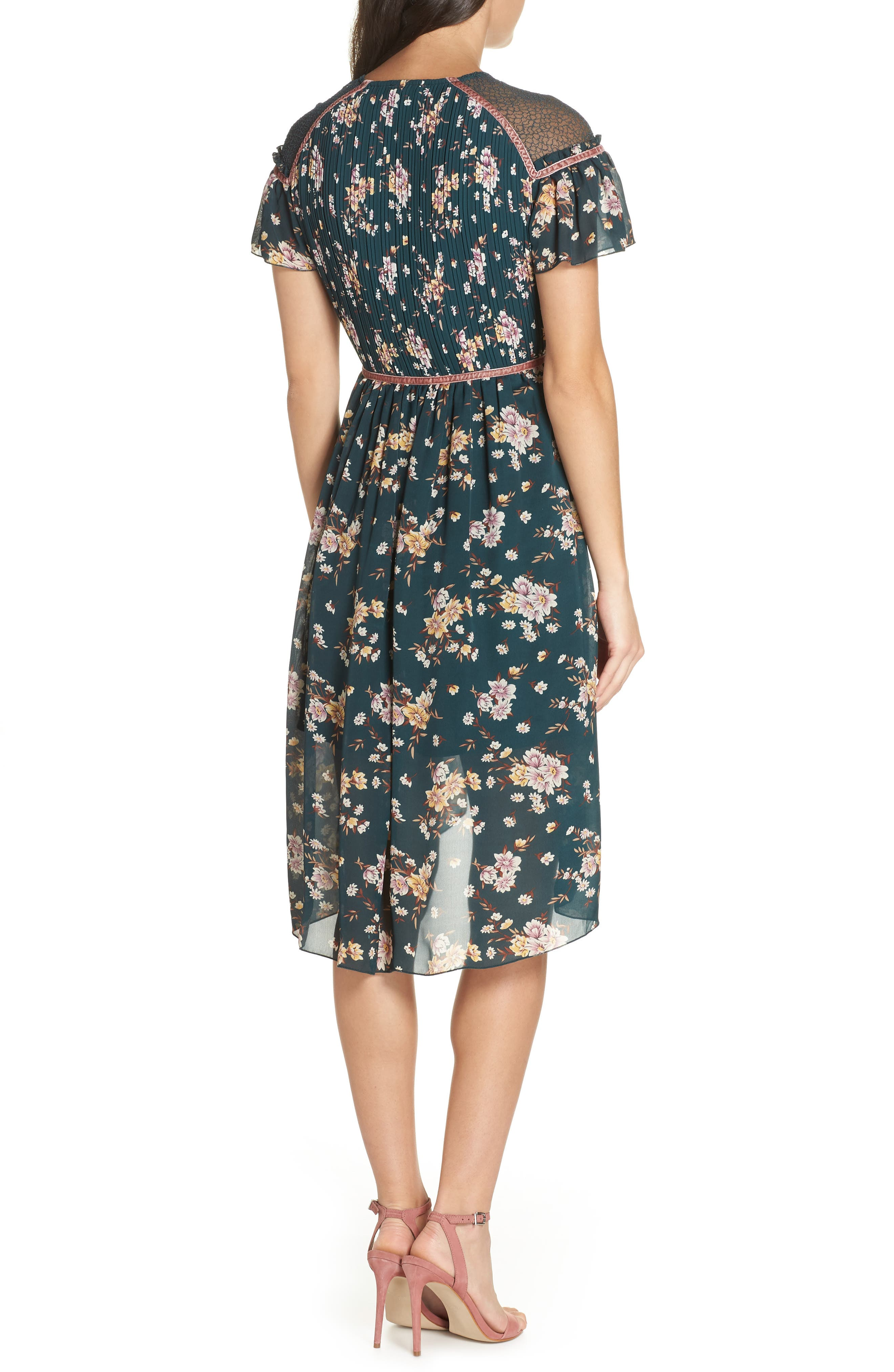 Floral Pleat & Lace Mix Dress,                             Alternate thumbnail 3, color,                             GREEN BRANCHING LILIES