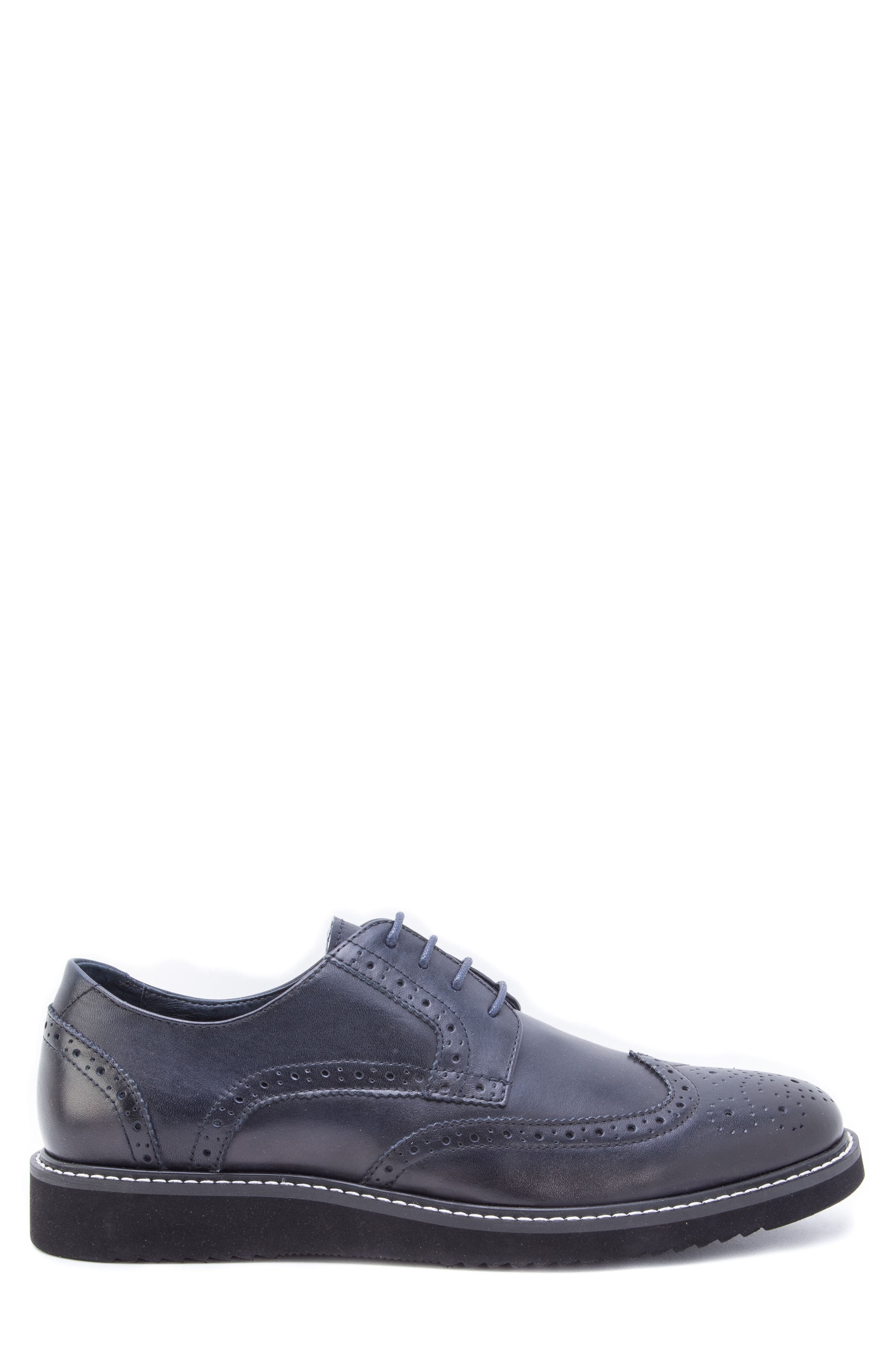 Siena Wingtip Derby,                             Alternate thumbnail 3, color,                             NAVY LEATHER