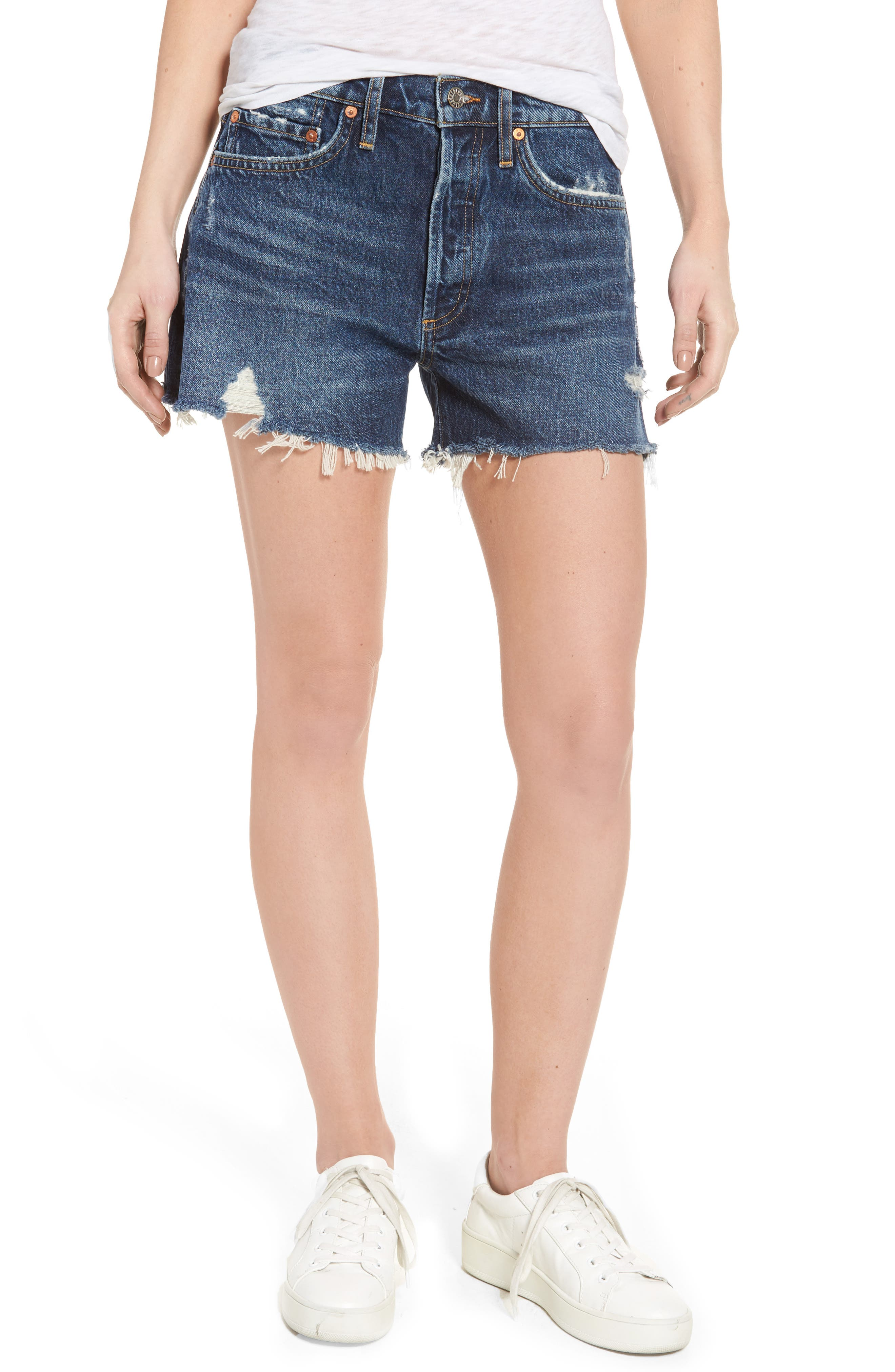 Parker Distressed Denim Shorts,                         Main,                         color, 474
