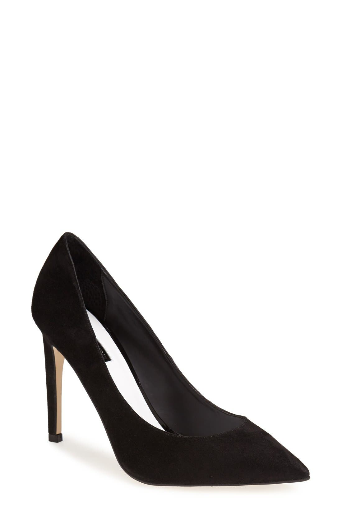'Glory' Pointy Toe Suede Pump,                             Main thumbnail 1, color,                             001