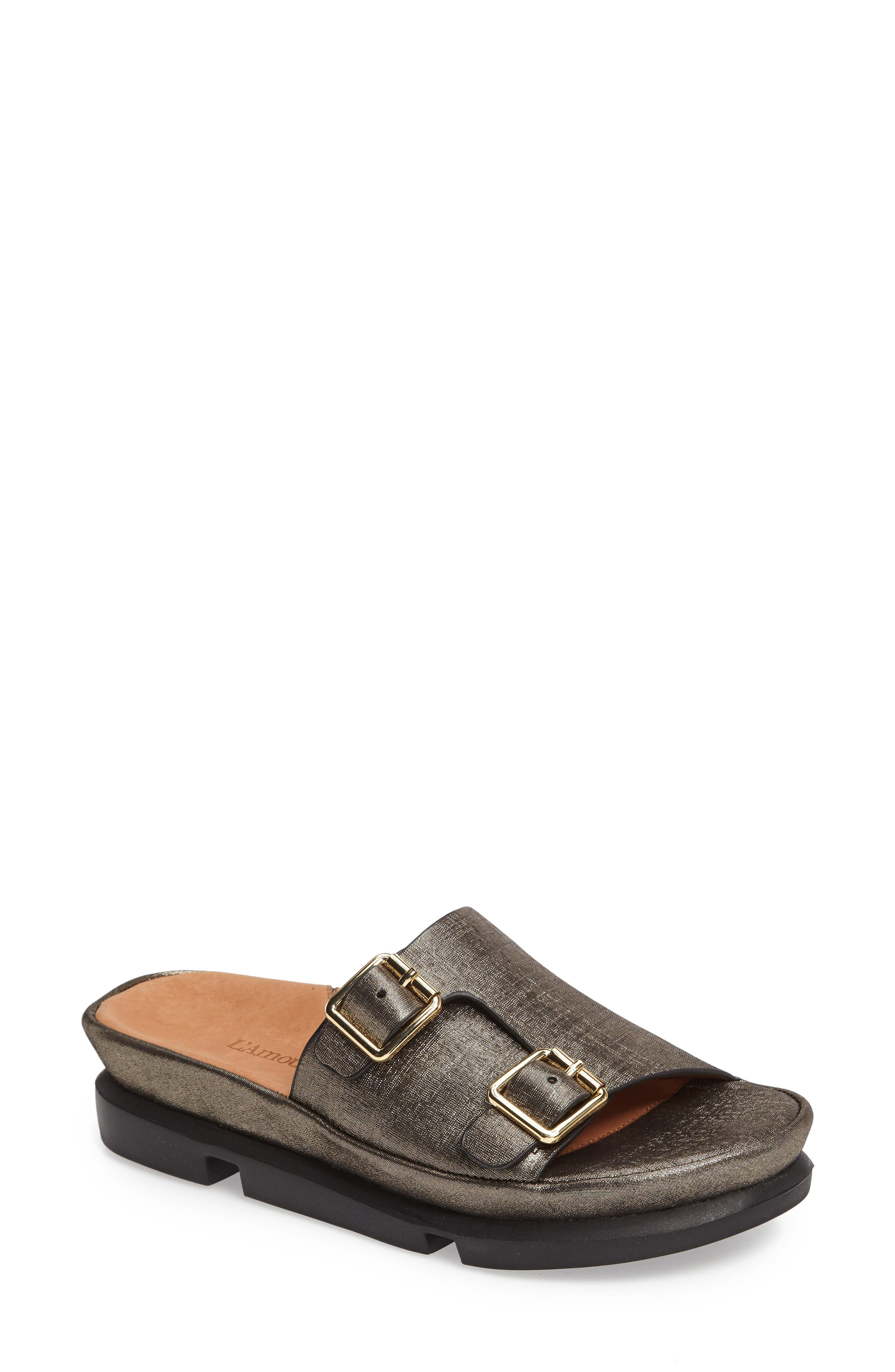Viareggio Slide Sandal,                         Main,                         color, BLACK ATHENA LEATHER