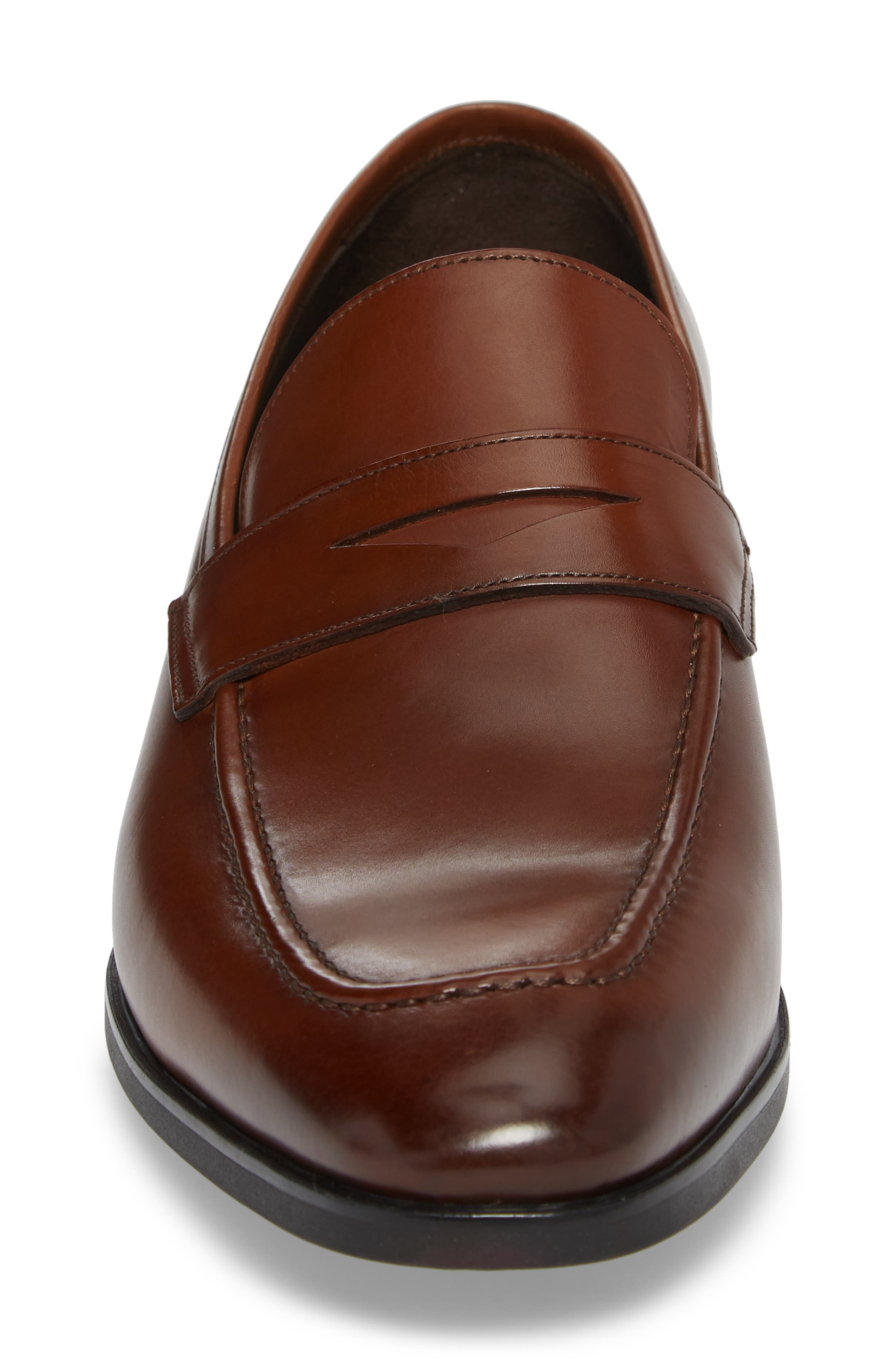 Raleigh Apron Toe Penny Loafer,                             Alternate thumbnail 4, color,                             BROWN LEATHER