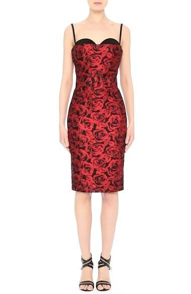 Rose Jacquard Bustier Sheath Dress, video thumbnail