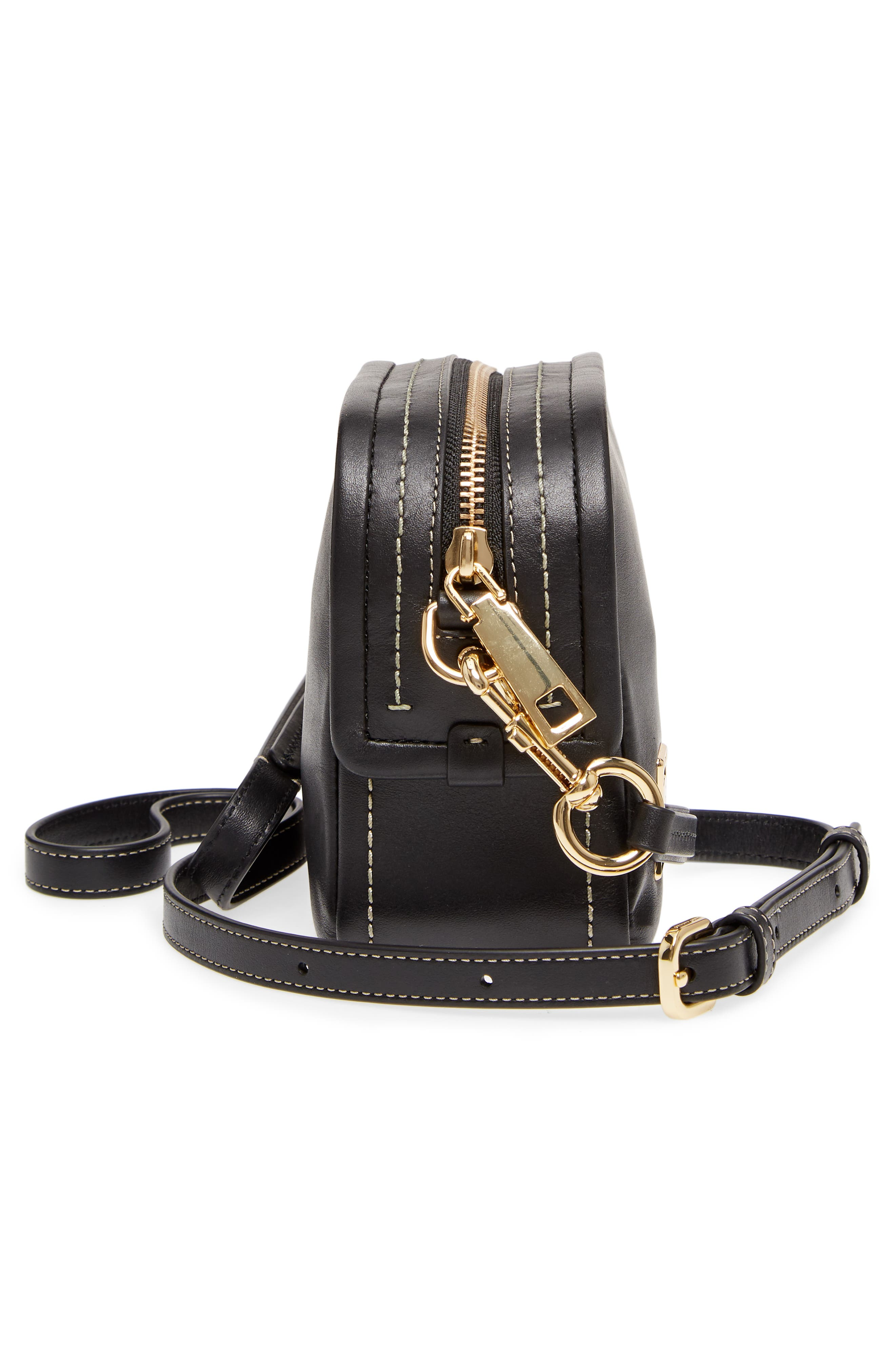 The Mini Squeeze Leather Crossbody Bag,                             Alternate thumbnail 5, color,                             BLACK