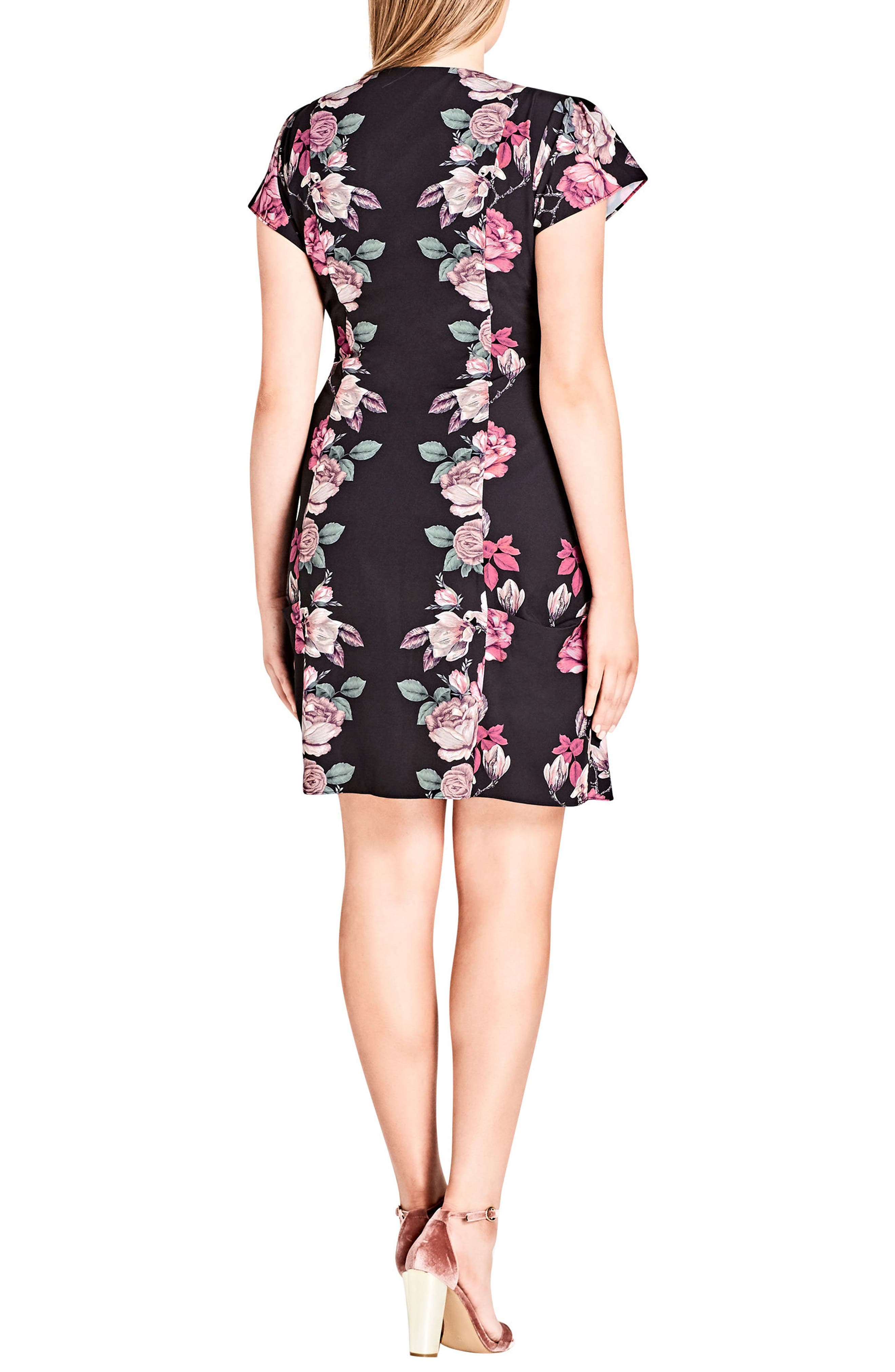 Mirror Mirror Floral Tunic Dress,                             Alternate thumbnail 2, color,                             001