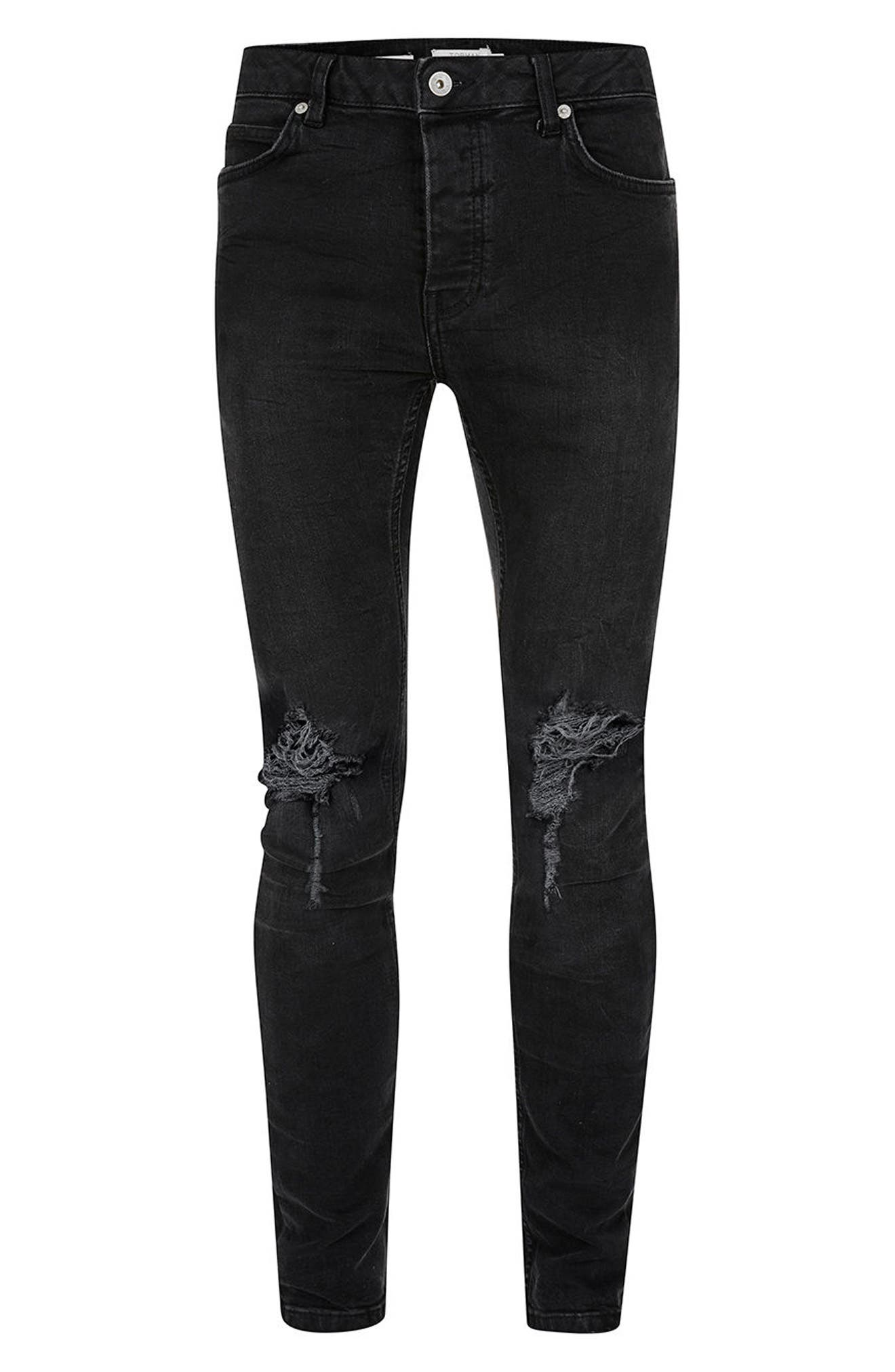 Ripped Skinny Fit Jeans,                             Alternate thumbnail 4, color,                             001