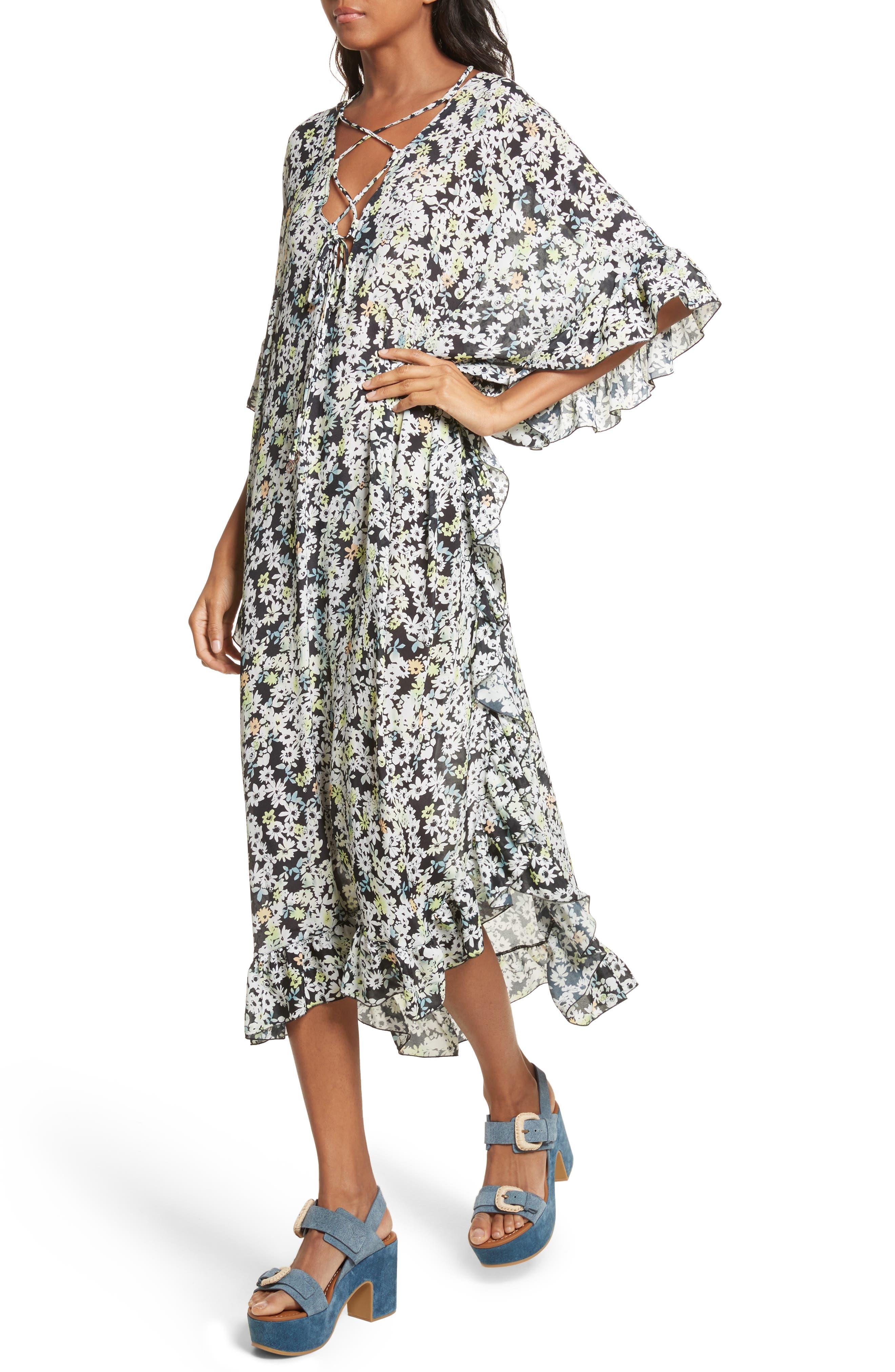 SEE BY CHLOÉ,                             Floral Print Flutter Edge Dress,                             Alternate thumbnail 4, color,                             021
