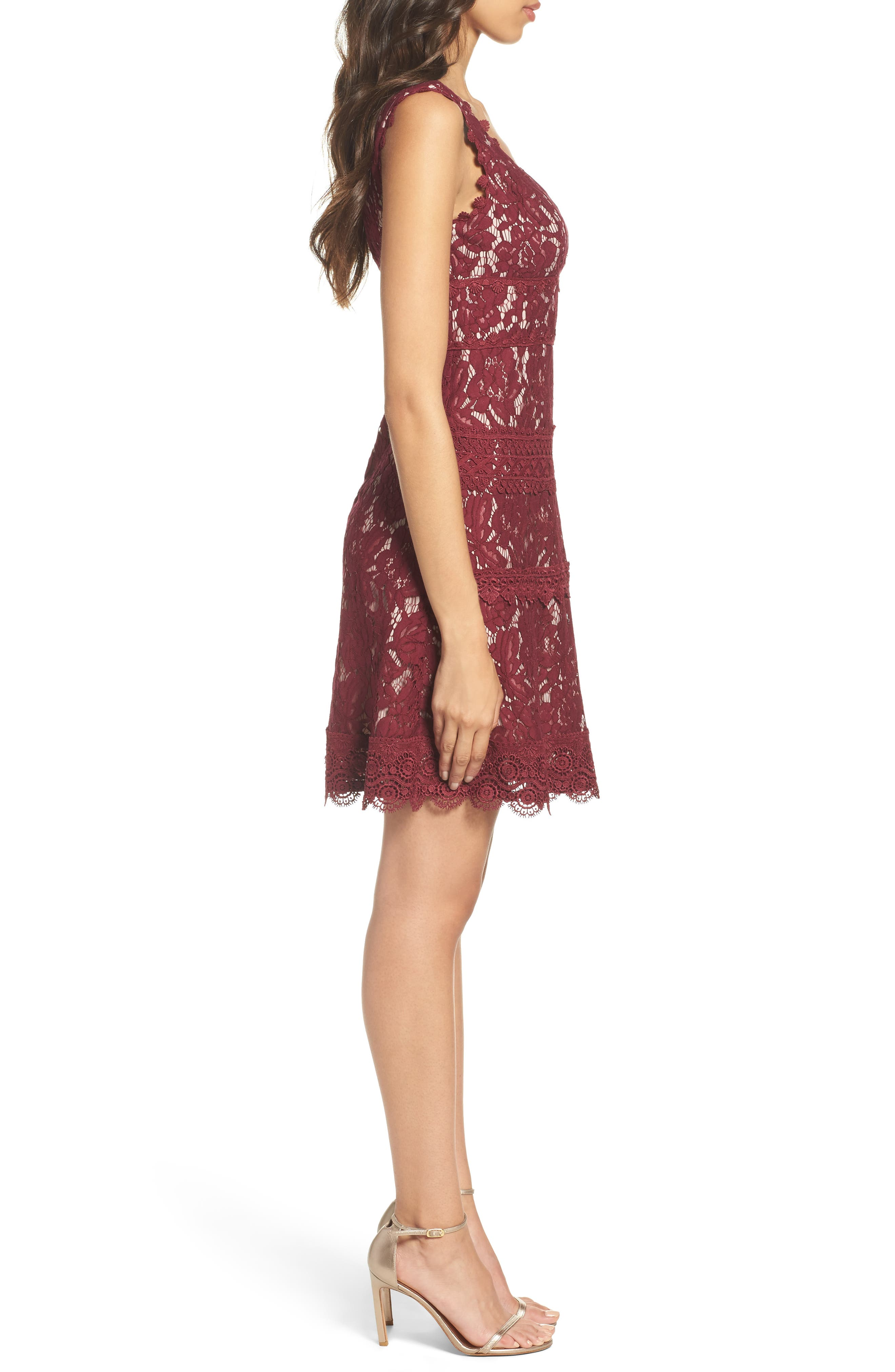 Cynthia Lace Fit & Flare Dress,                             Alternate thumbnail 3, color,                             605