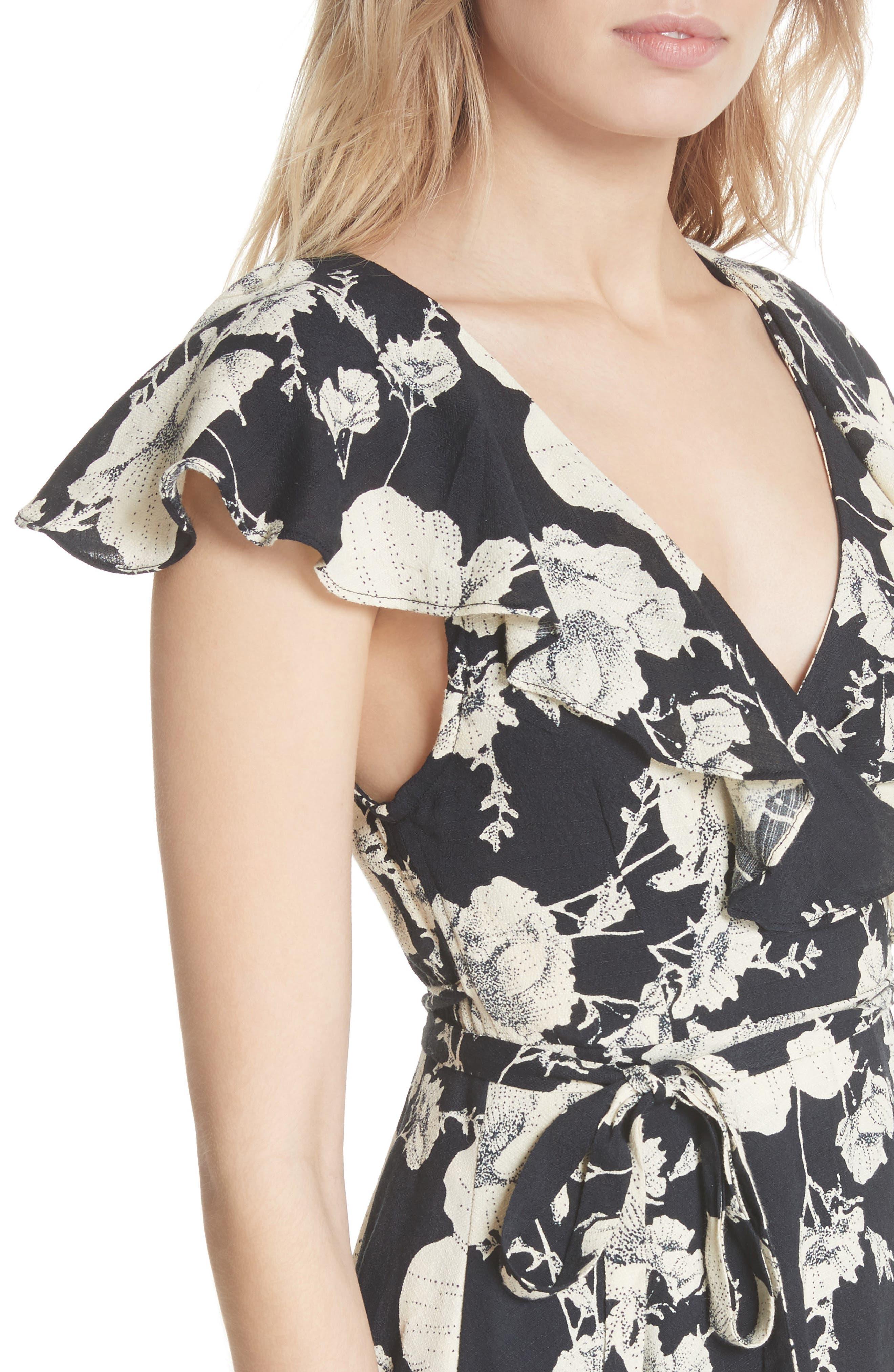 French Quarter Print Wrap Minidress,                             Alternate thumbnail 4, color,                             001