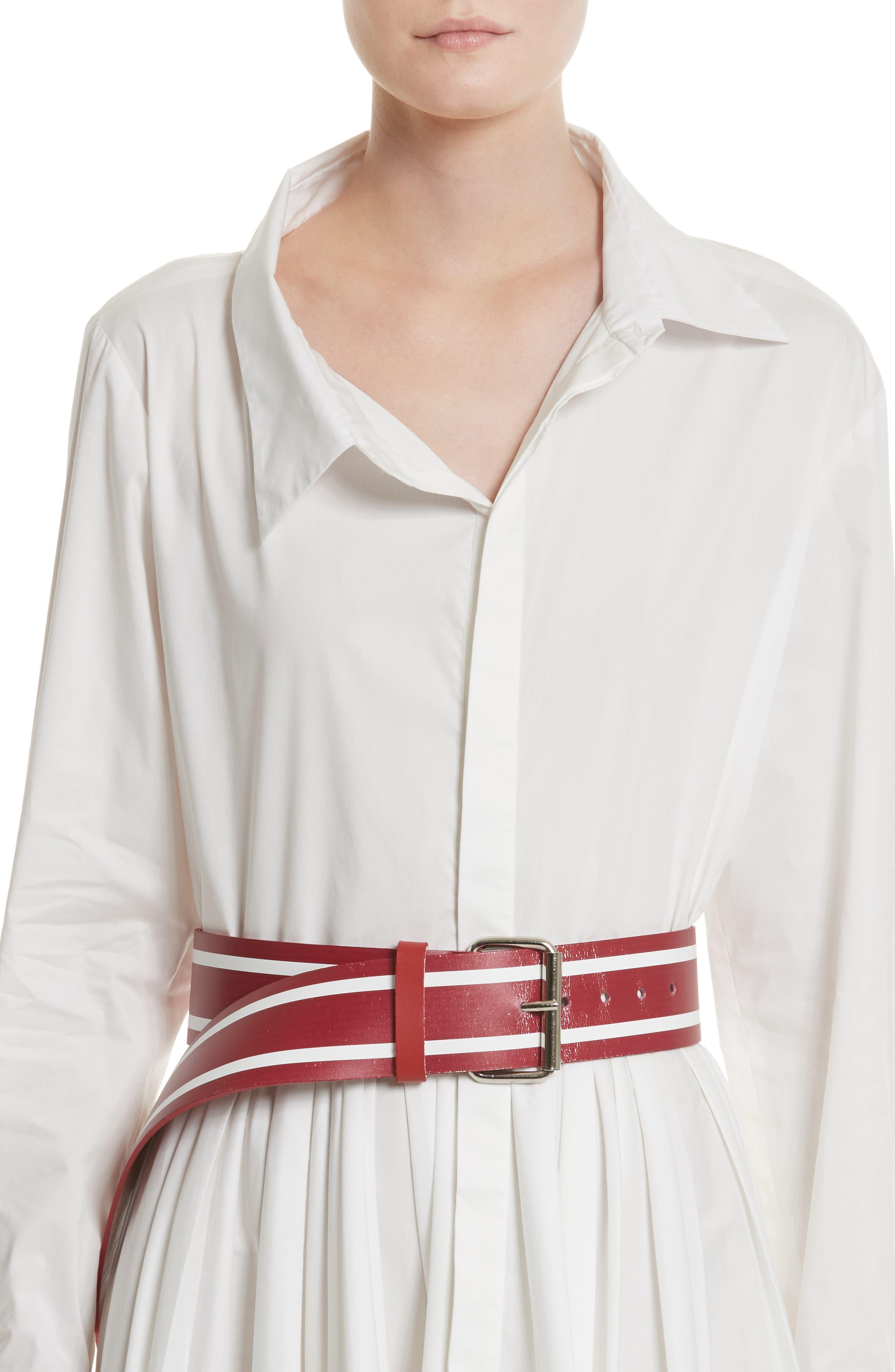 Racing Stripe Leather Belt,                             Alternate thumbnail 2, color,                             600