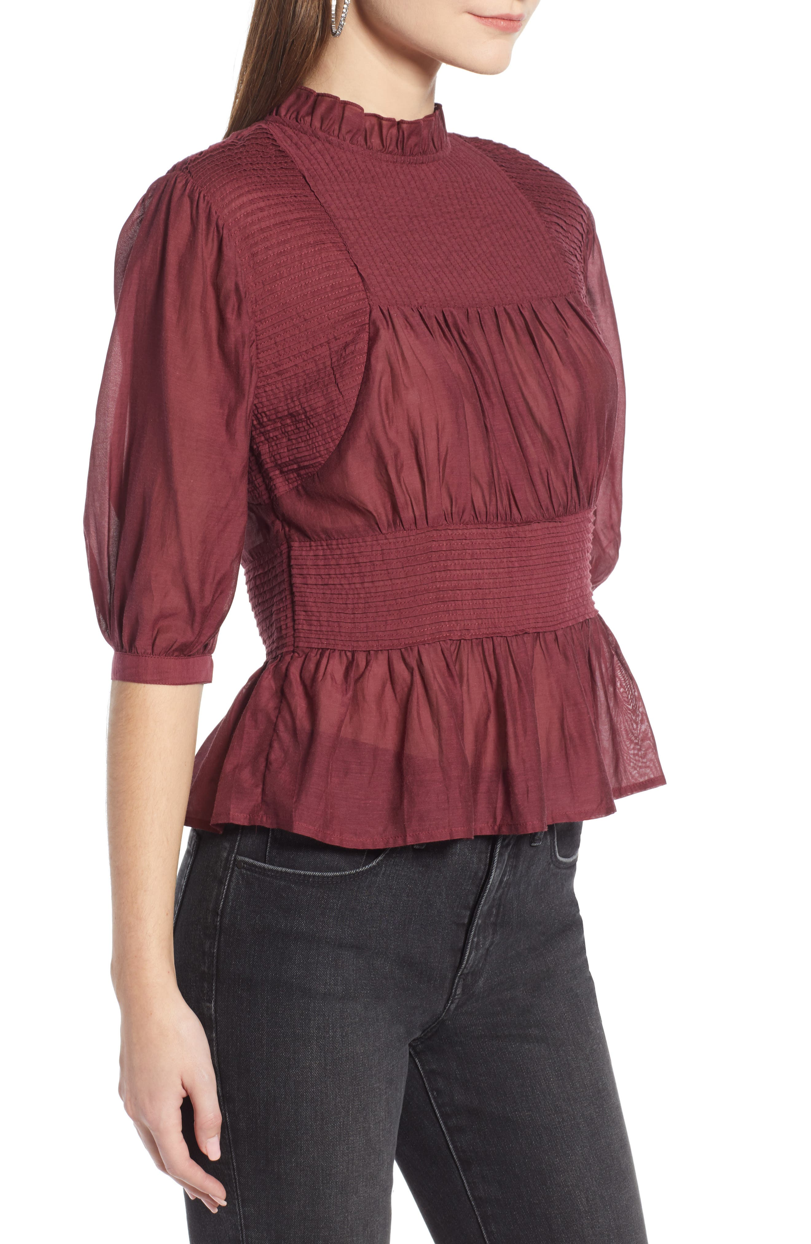 Pleated Peplum Top,                             Alternate thumbnail 3, color,                             RED TANNIN