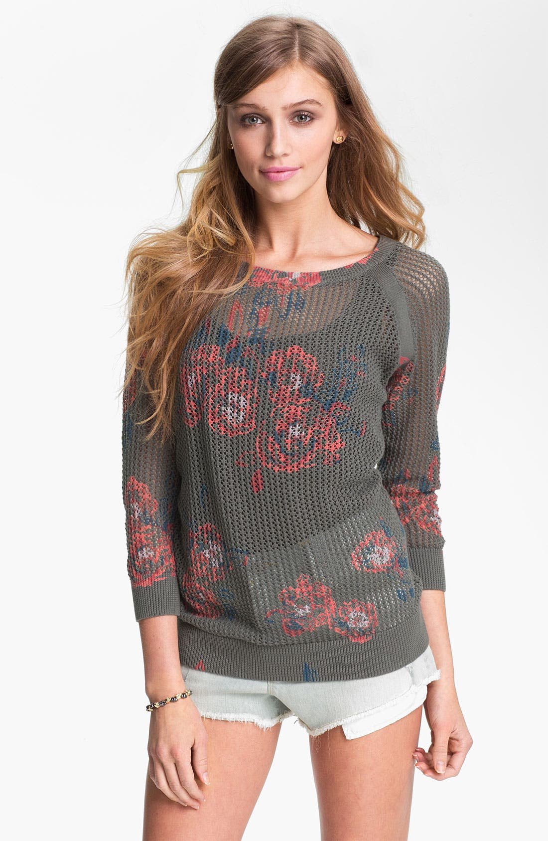Floral Print Sweater,                         Main,                         color, 020