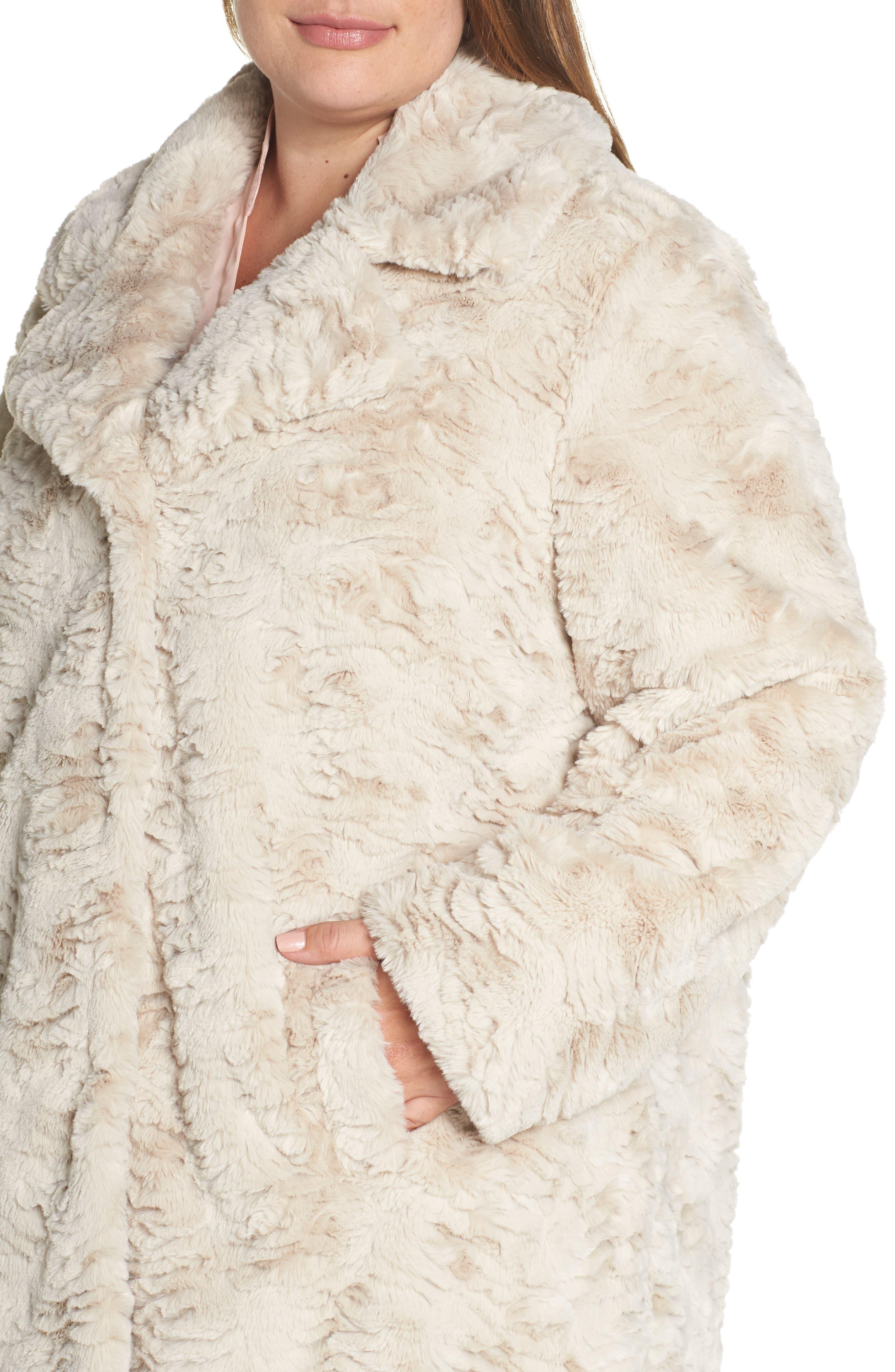 Wubby Faux Fur Coat,                             Alternate thumbnail 4, color,                             SAND