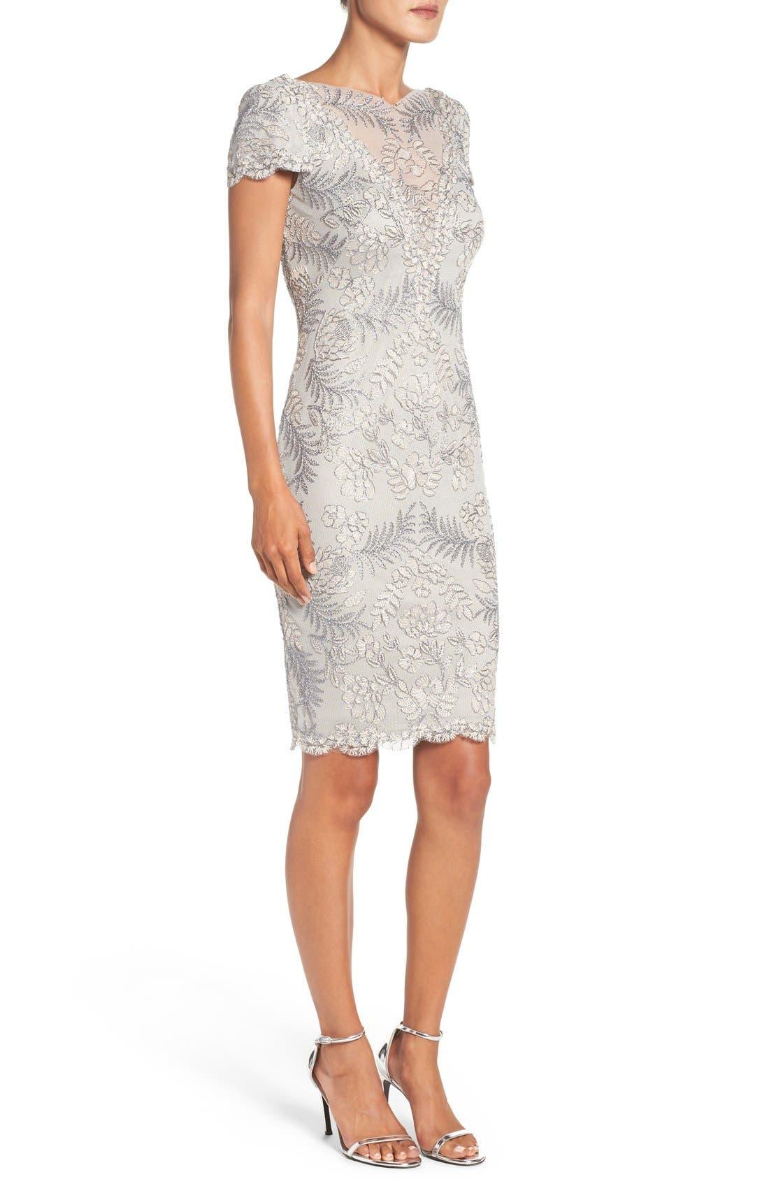 Lace Sheath Dress,                             Alternate thumbnail 3, color,                             LIGHT PEARL