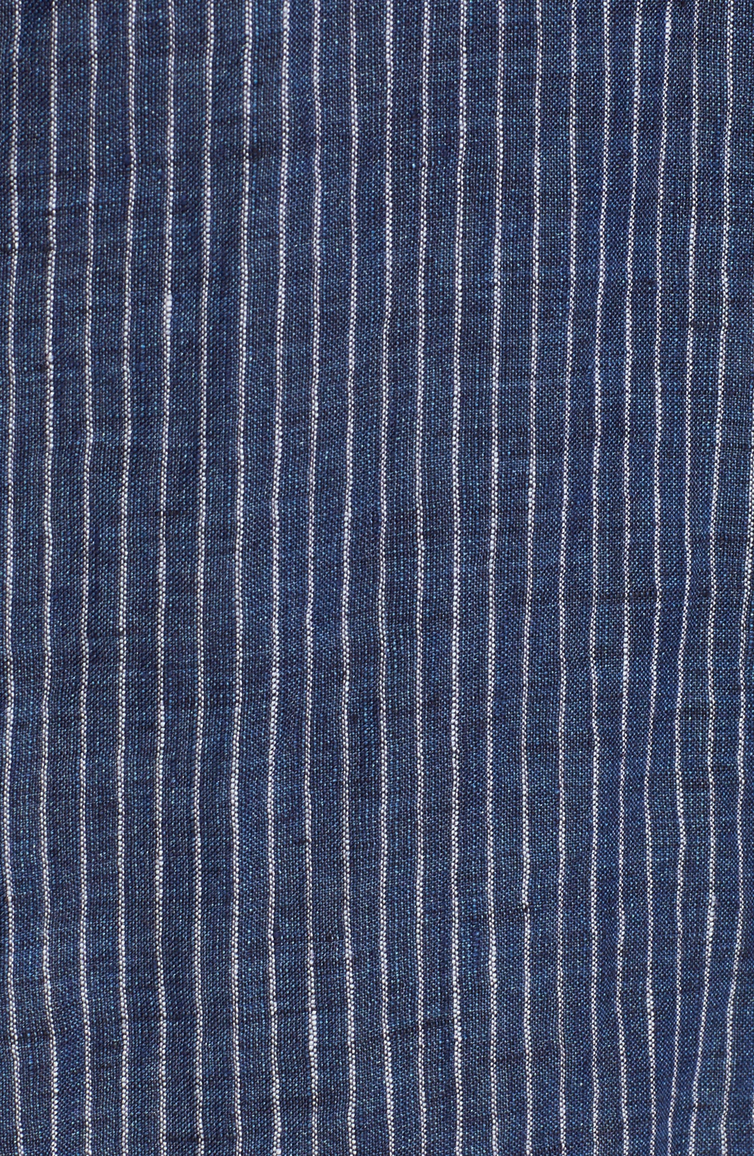 Railroad Stripe Linen Sport Shirt,                             Alternate thumbnail 5, color,                             410