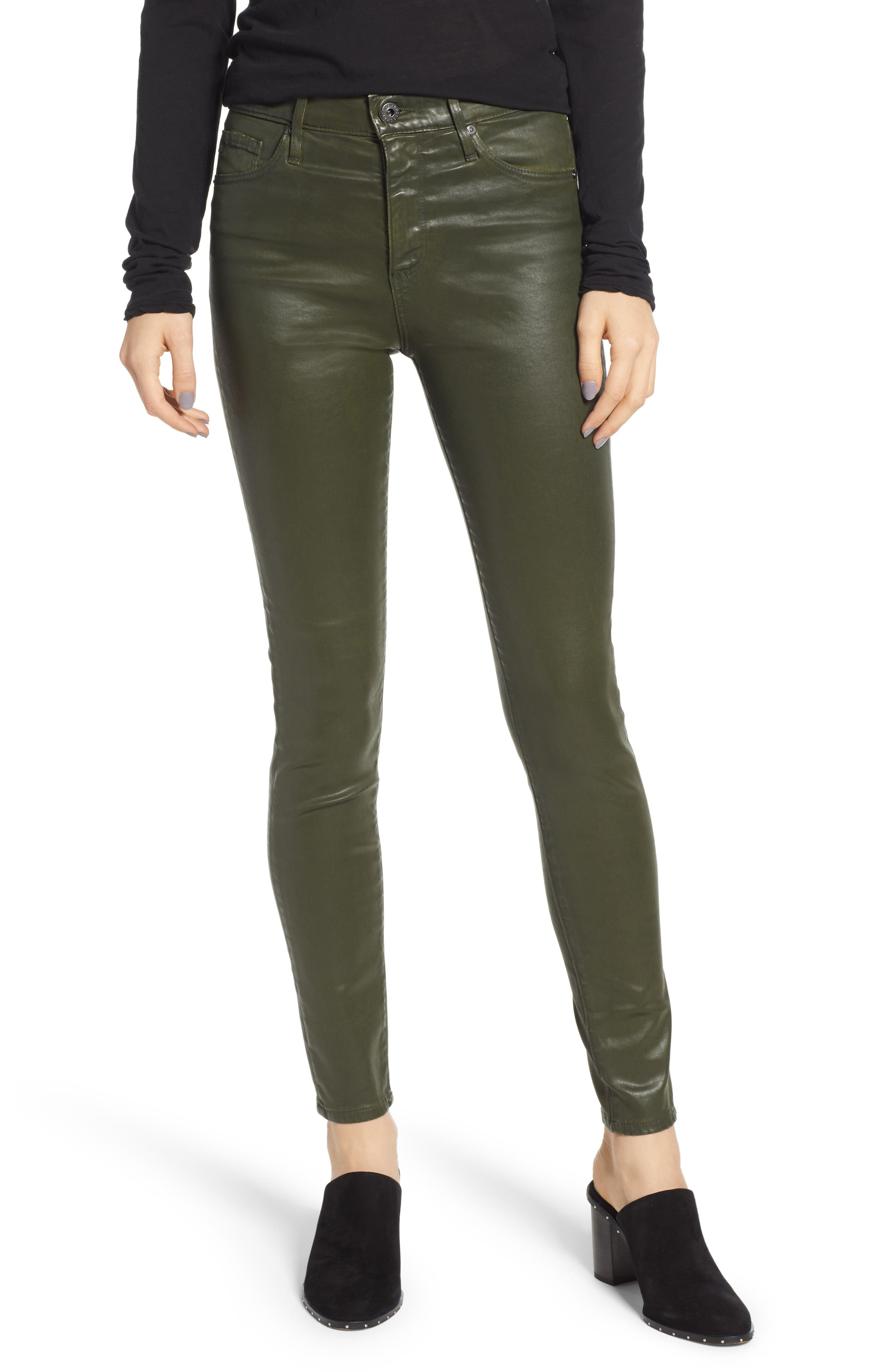 Farrah Skinny Ankle High-Rise Leatherette Jeans in Leatheret Dried Agave