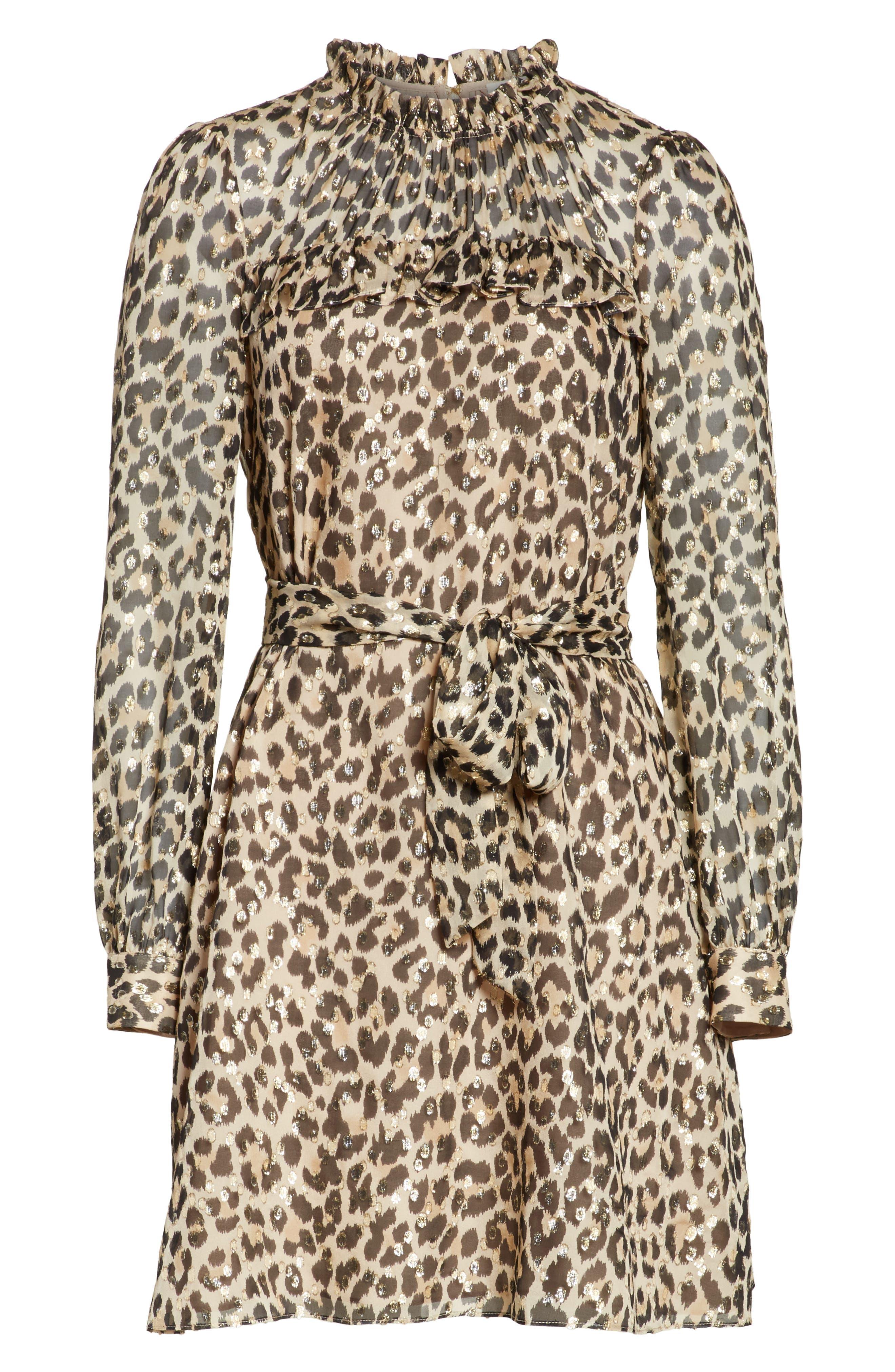 leopard clip dot minidress,                             Alternate thumbnail 6, color,