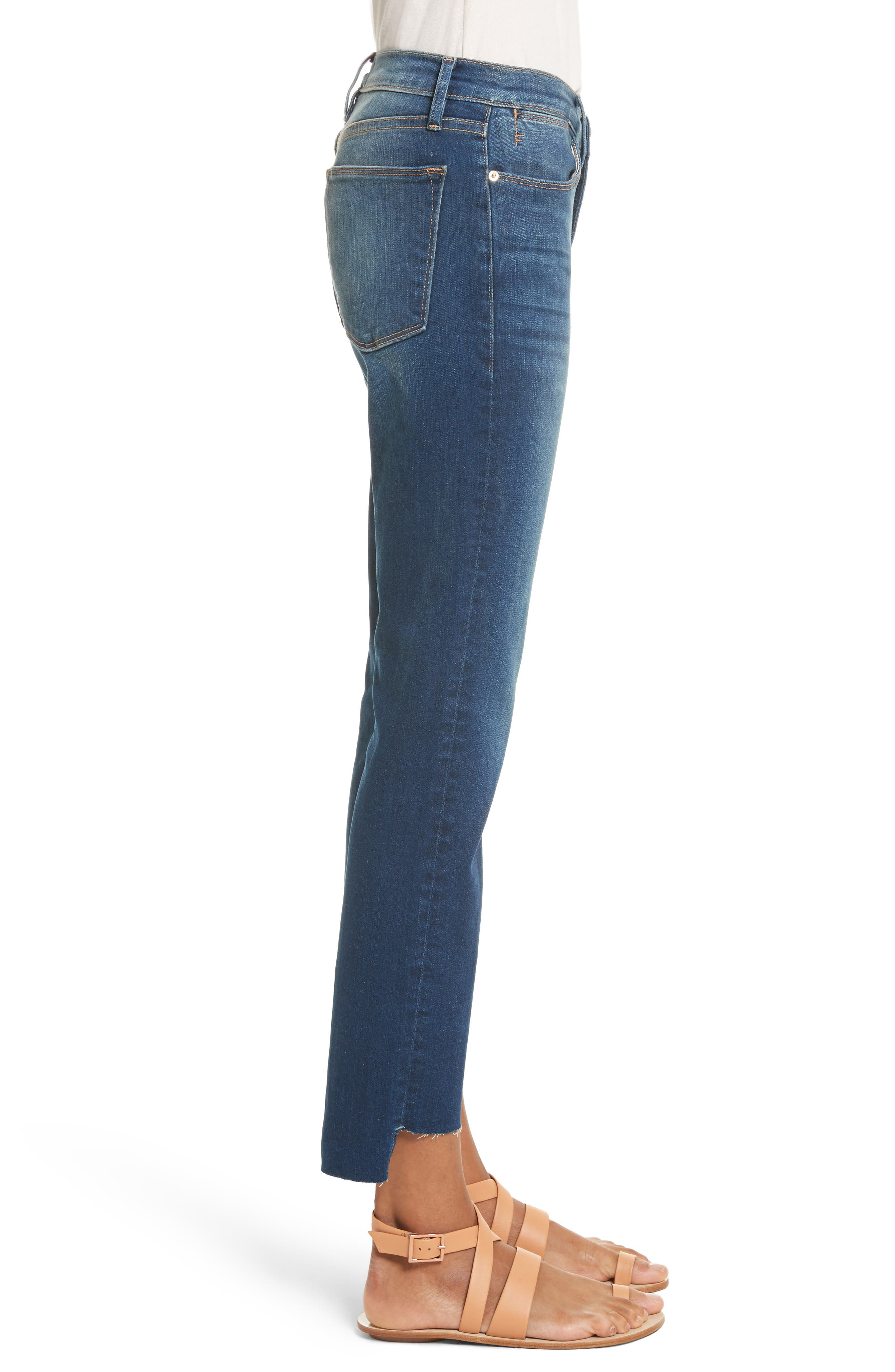 Le High Straight High Waist Raw Stagger Jeans,                             Alternate thumbnail 3, color,                             401