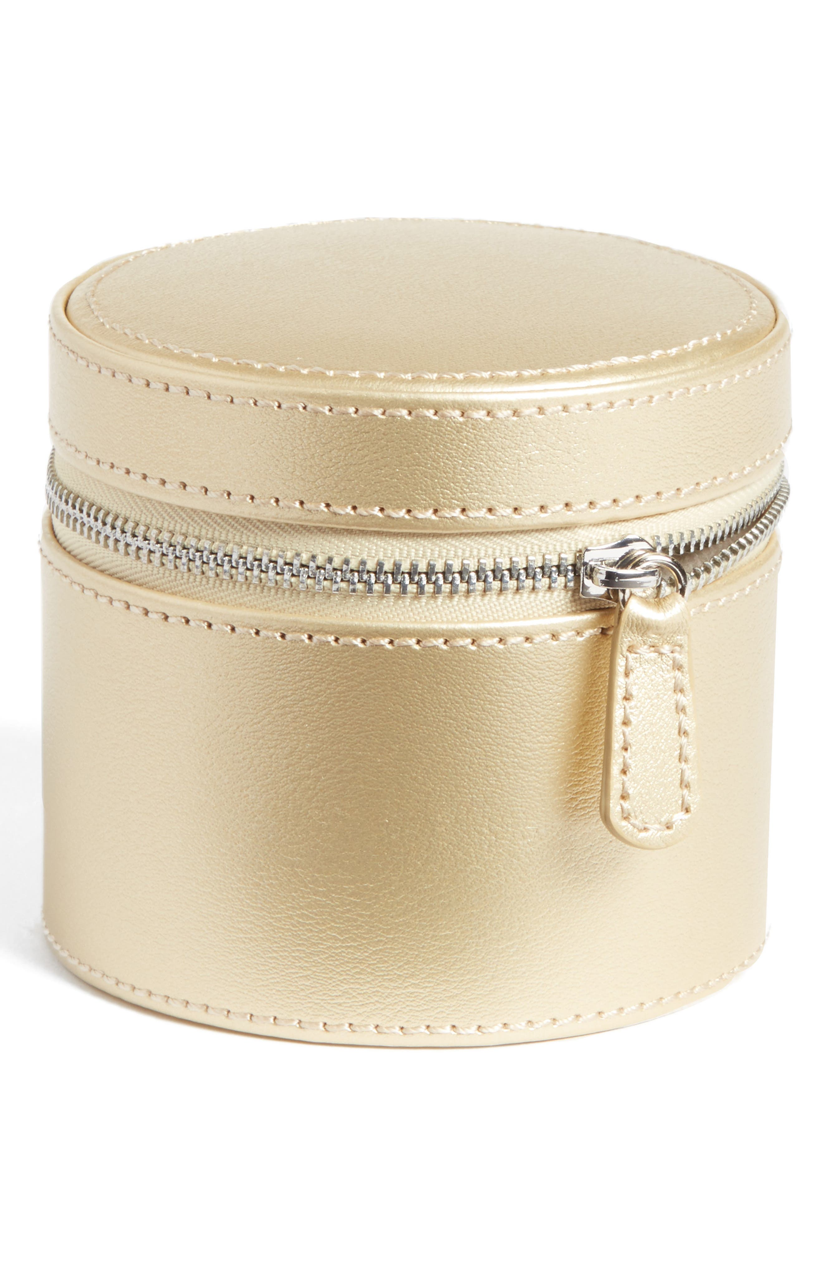 Small Round Zippered Jewelry Case,                             Main thumbnail 2, color,