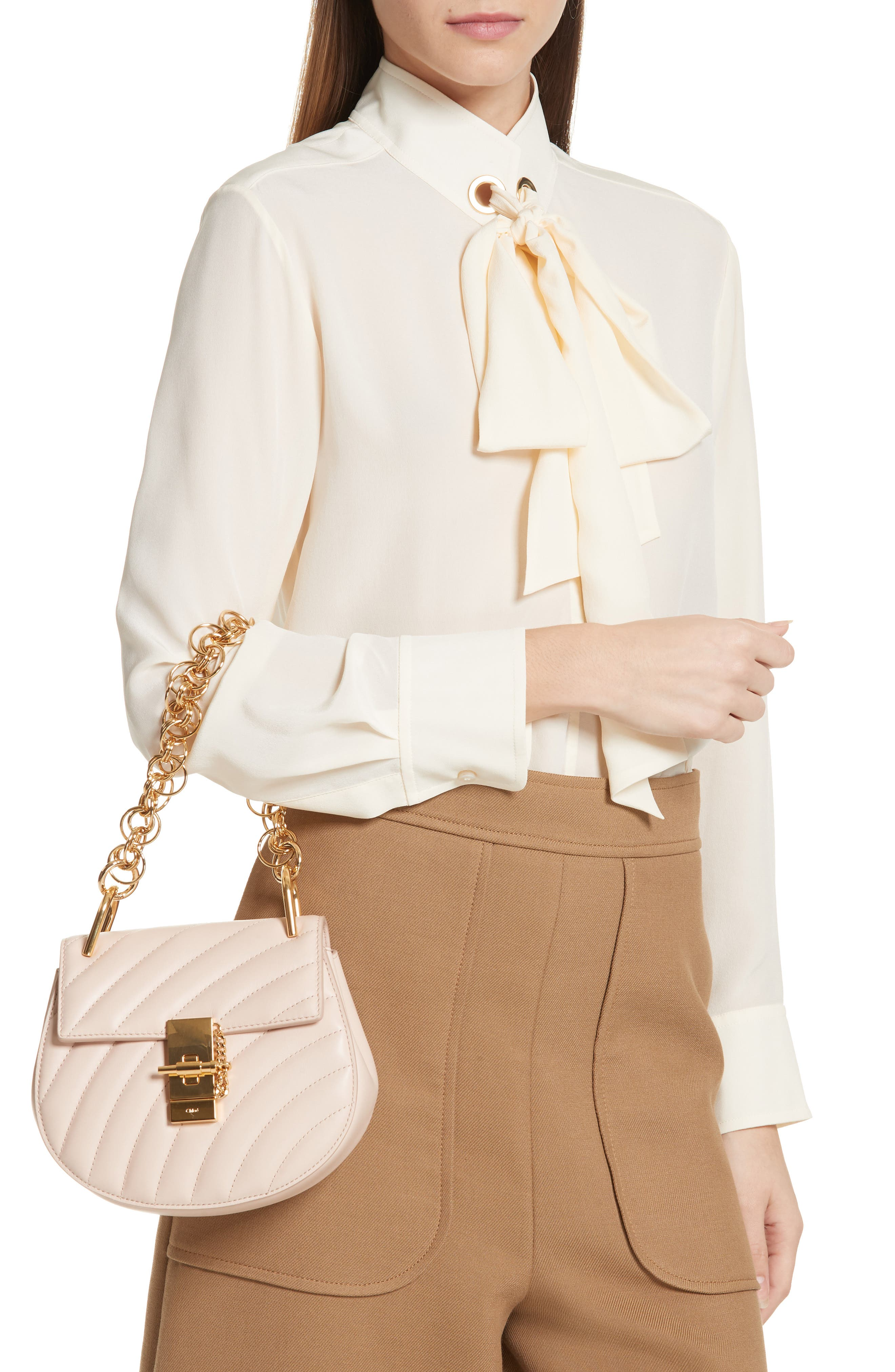 CHLOÉ,                             Mini Drew Bijoux Leather Shoulder Bag,                             Alternate thumbnail 4, color,                             680
