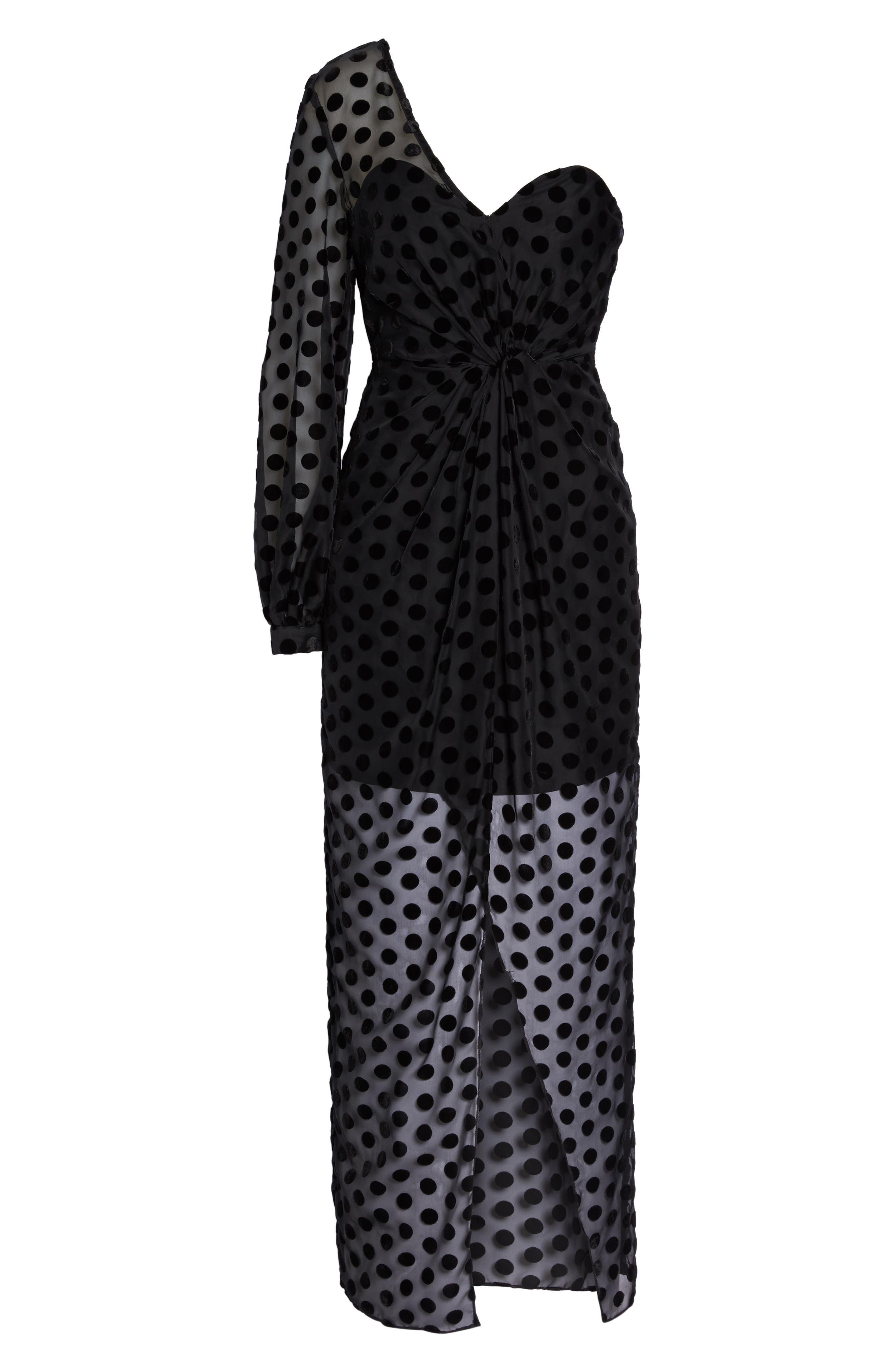 Exhale One Shoulder Polka Dot Dress,                             Alternate thumbnail 6, color,