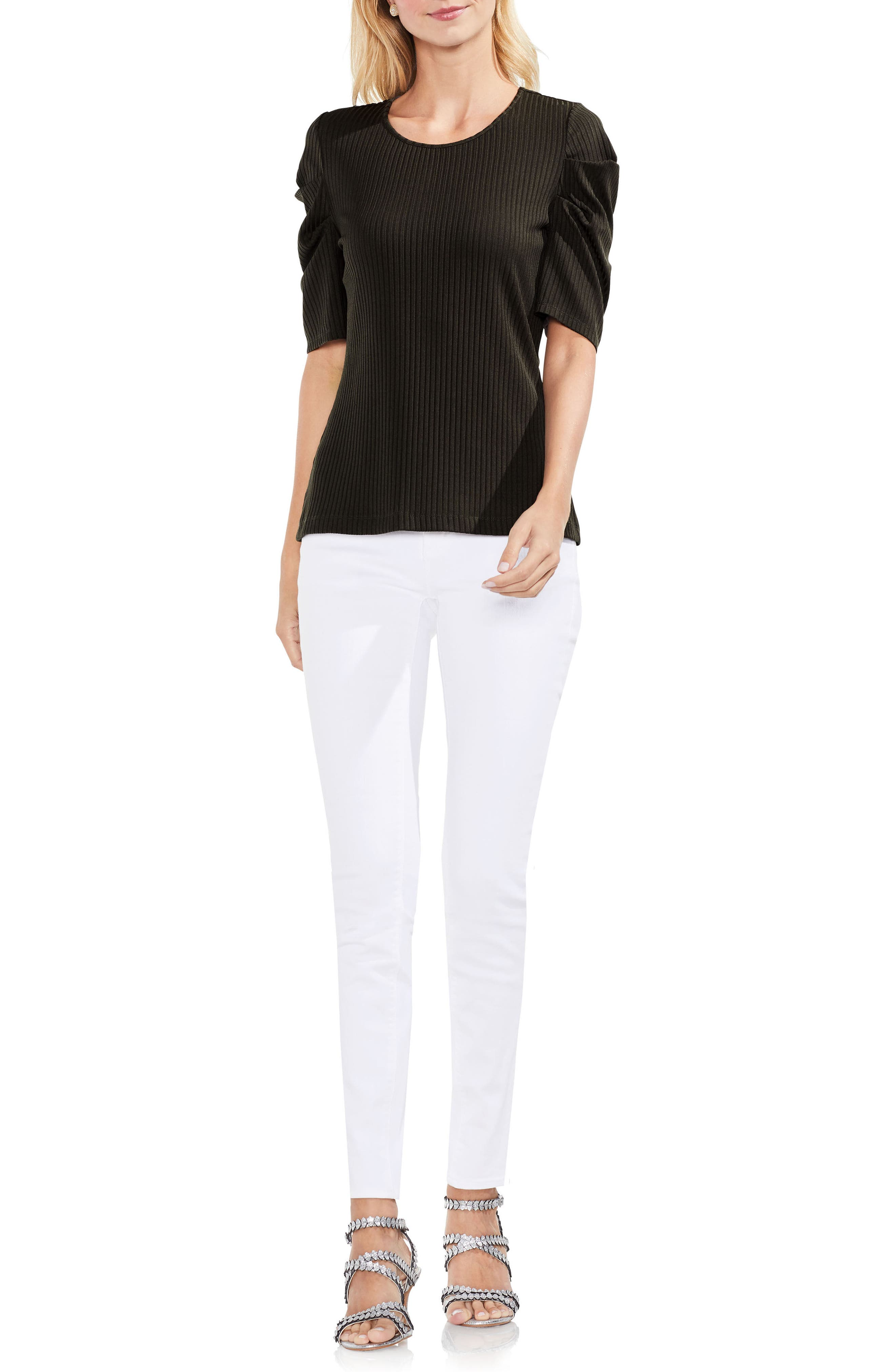 Draped Sleeve Ribbed Tee,                             Alternate thumbnail 15, color,
