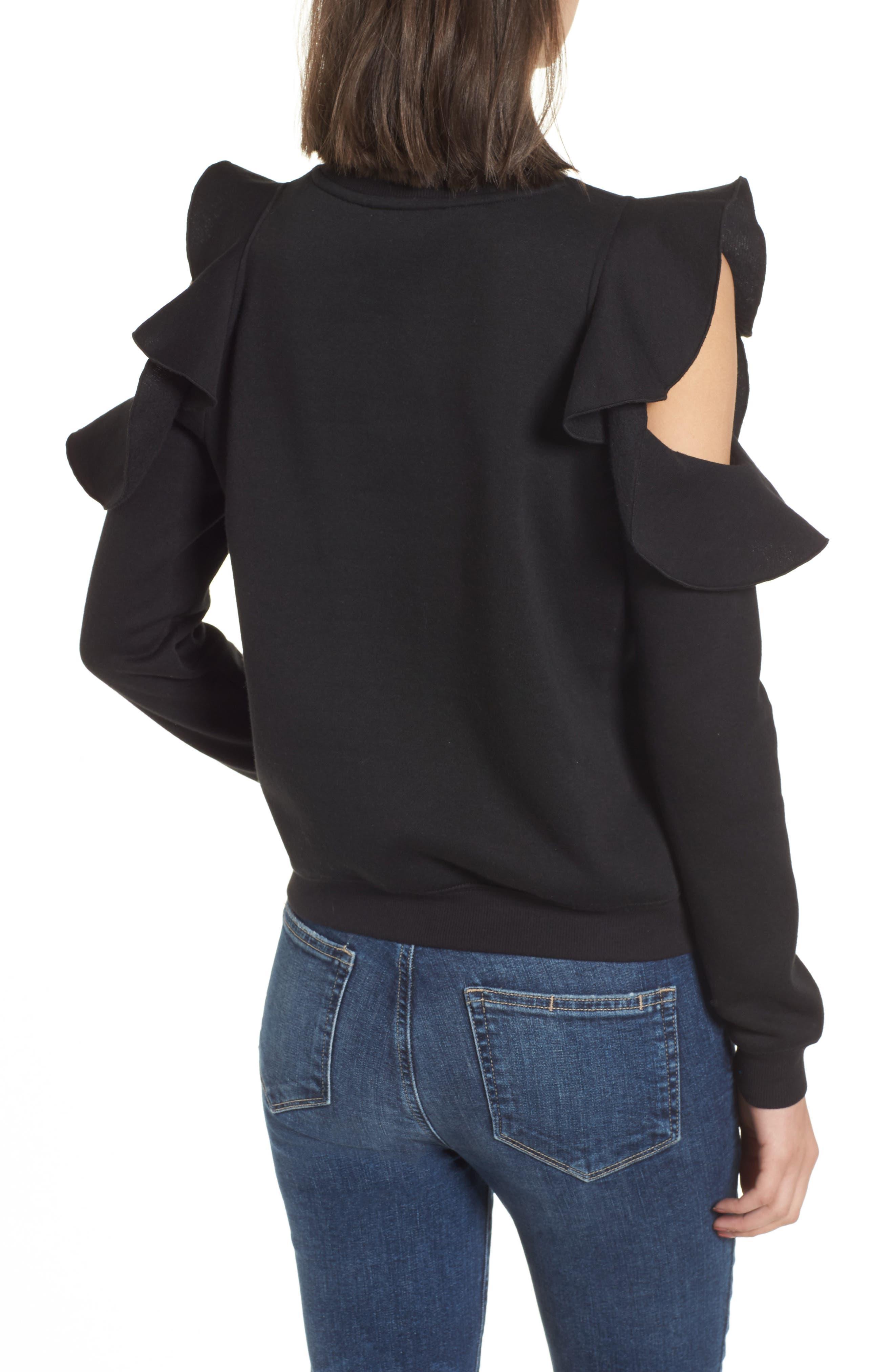 Gracie Cold Shoulder Sweatshirt,                             Alternate thumbnail 2, color,                             001