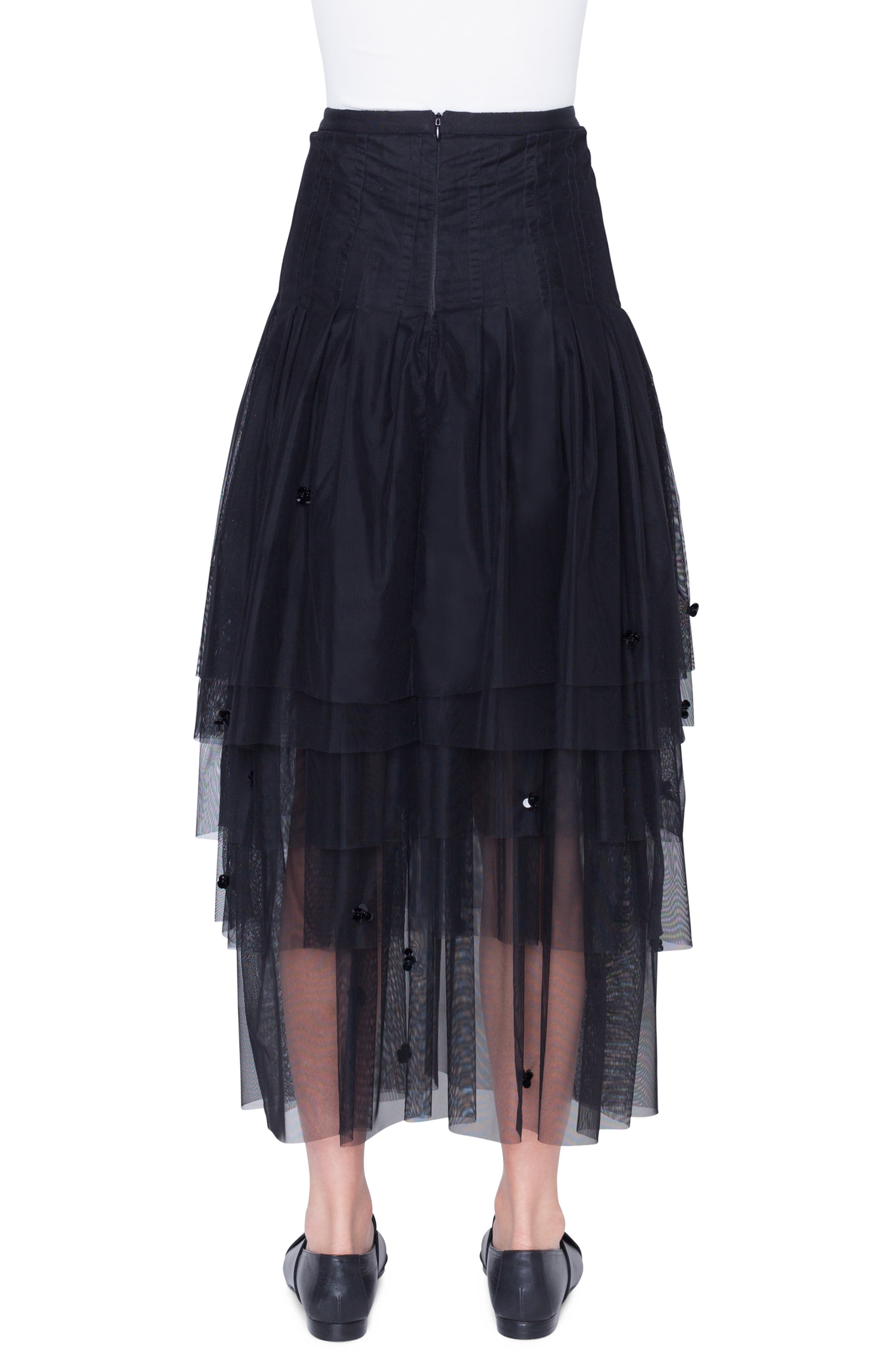 3D Sequin Tulle Maxi Skirt,                             Alternate thumbnail 2, color,                             NERO