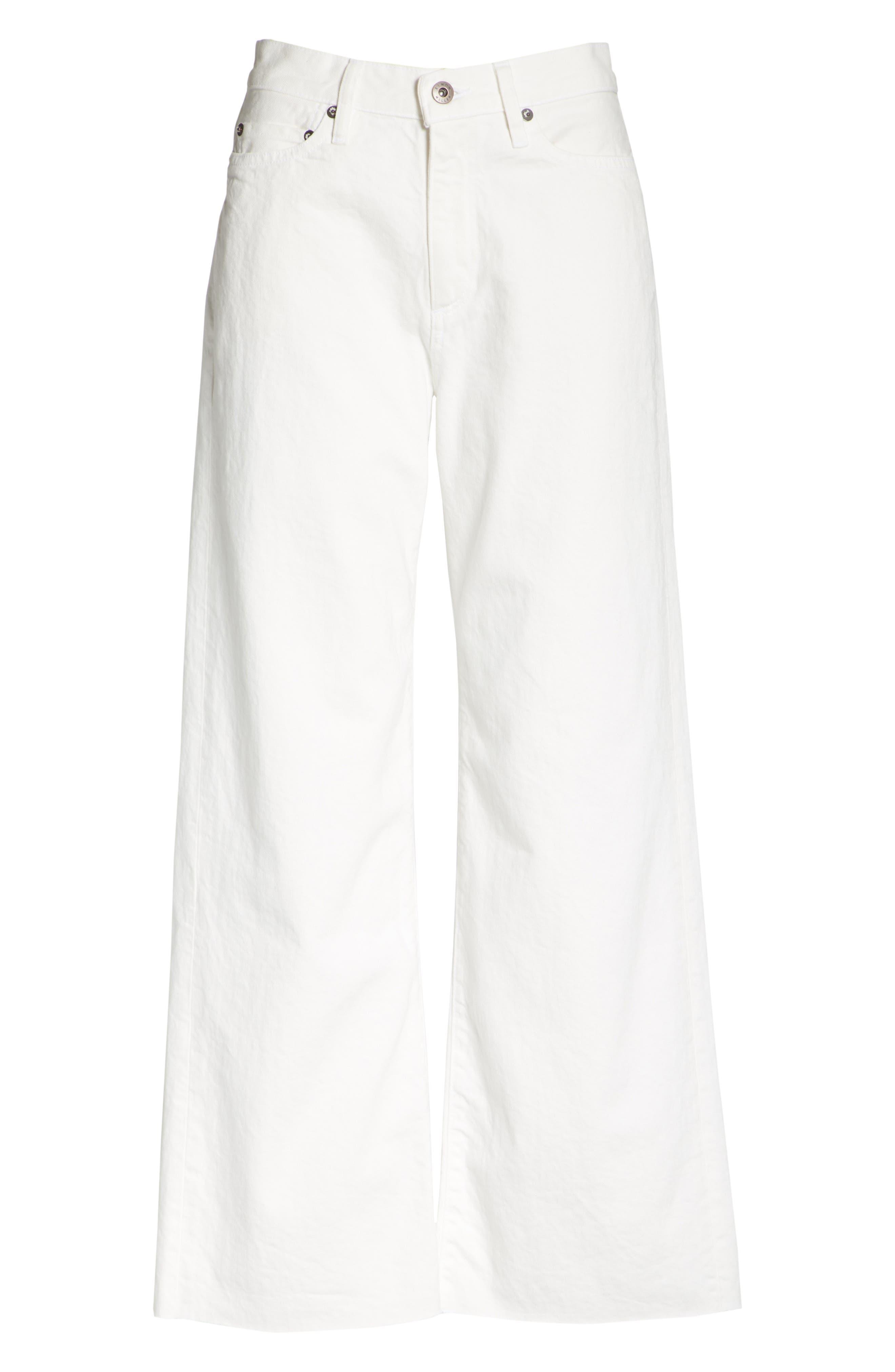 Lamere Wide Leg Crop Jeans,                             Alternate thumbnail 6, color,                             WHITE
