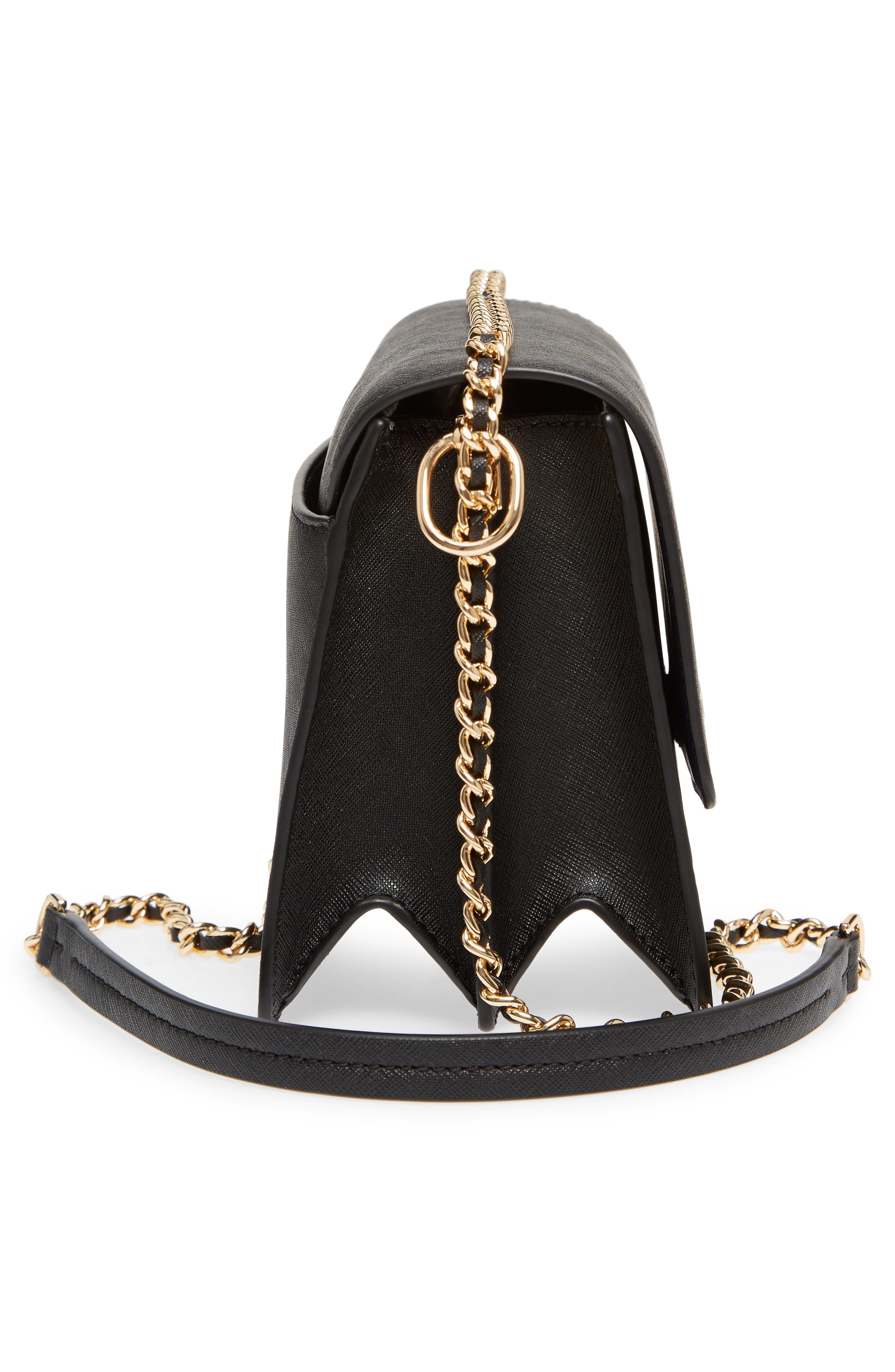 Robinson Convertible Leather Shoulder Bag,                             Alternate thumbnail 5, color,                             BLACK / ROYAL NAVY