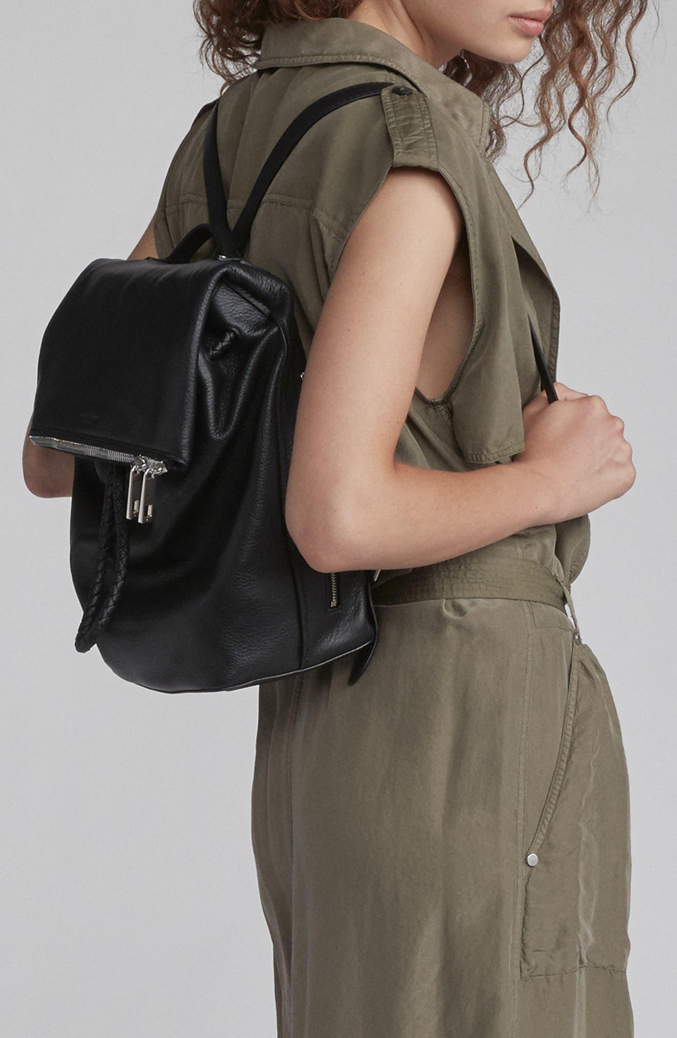 RAG & BONE,                             Loner Leather Backpack,                             Alternate thumbnail 2, color,                             BLACK