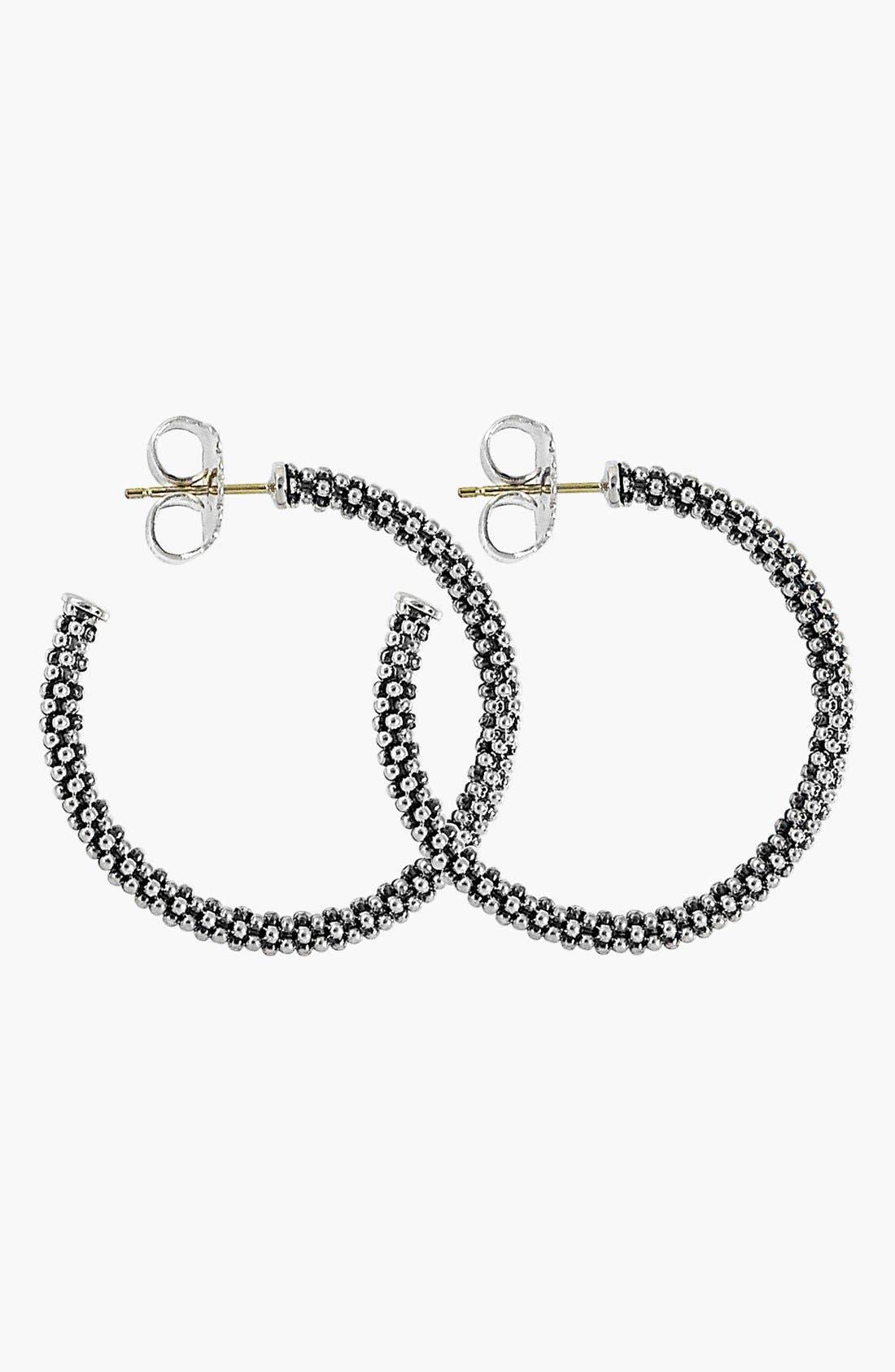 Caviar Hoop Earrings,                             Alternate thumbnail 6, color,                             STERLING SILVER