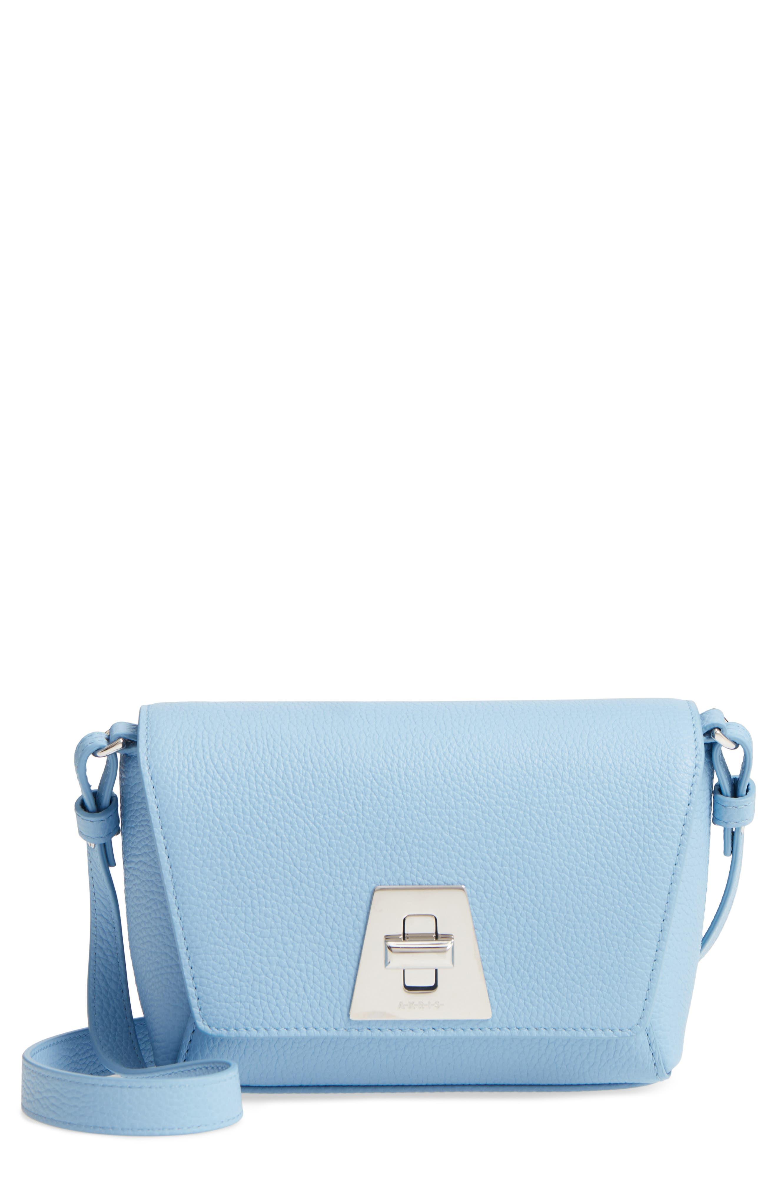 Little Anouk Calfskin Crossbody Bag,                             Main thumbnail 1, color,                             POWDER BLUE