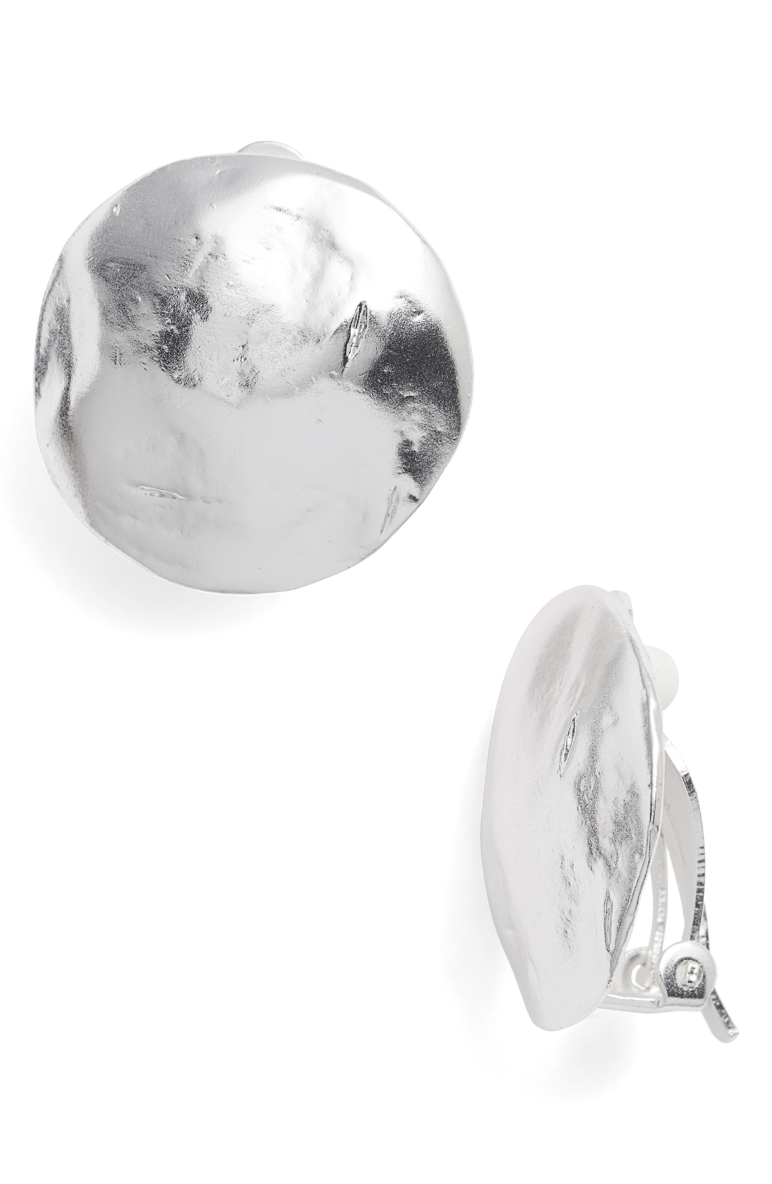 Eva Shell Disc Clip-On Earrings,                             Main thumbnail 1, color,                             SILVER