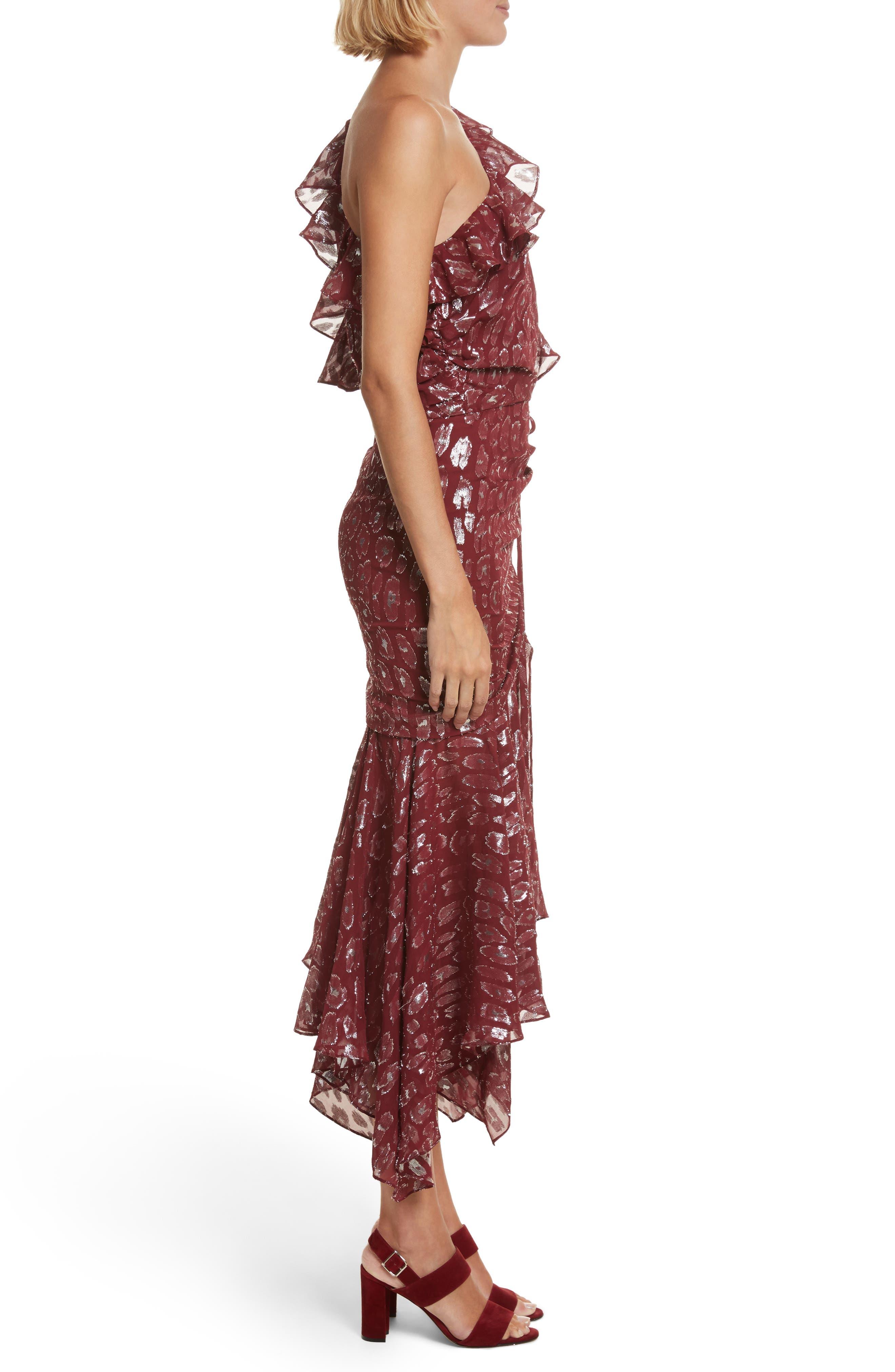 Leighton Fil Coupé One-Shoulder Dress,                             Alternate thumbnail 3, color,                             641