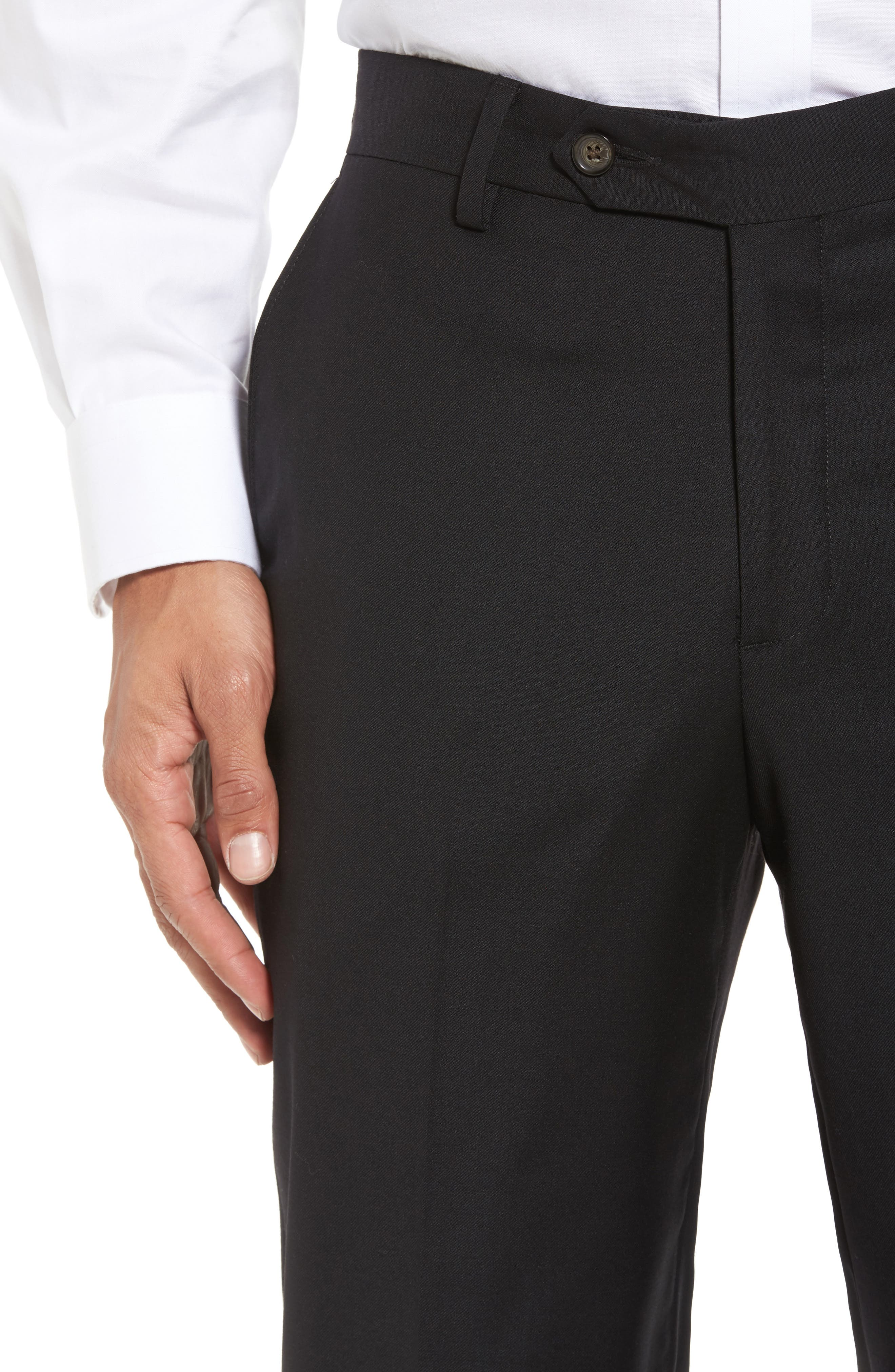 Flat Front Stretch Solid Wool Trousers,                             Alternate thumbnail 5, color,                             001