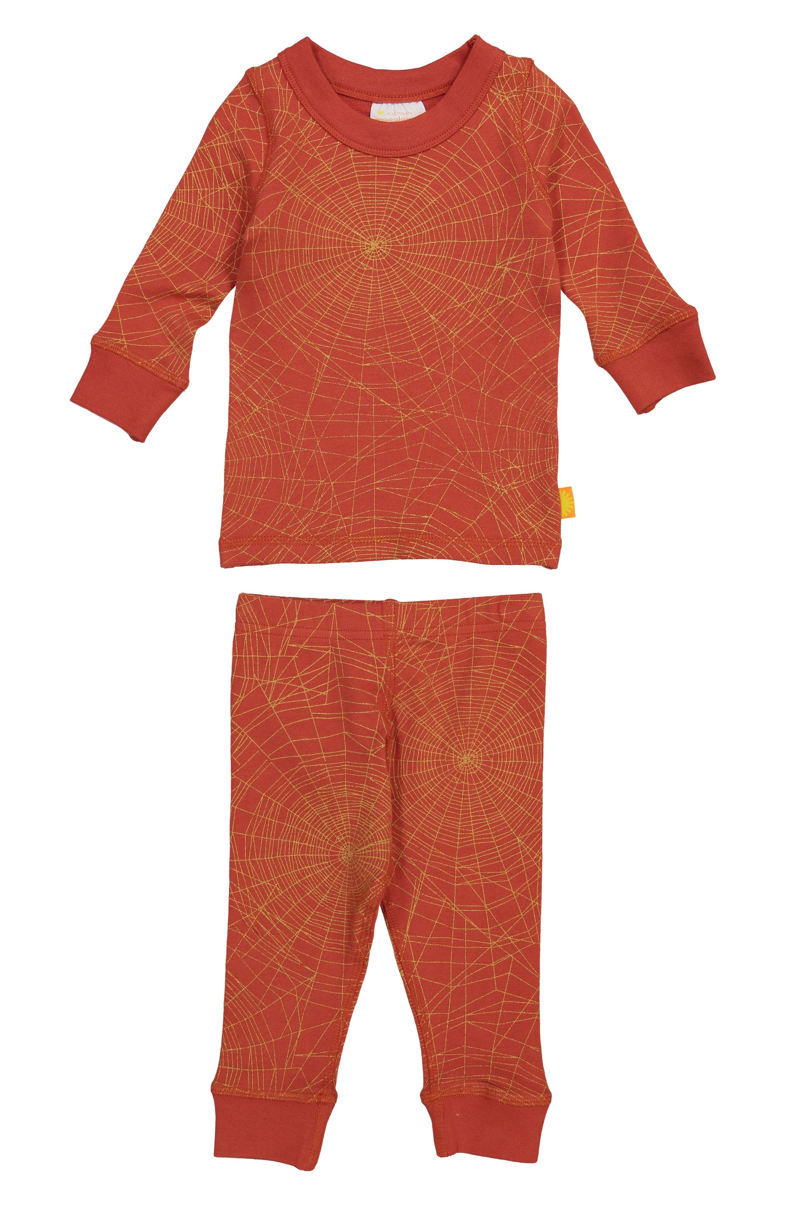 Golden Web Organic Cotton Fitted Two-Piece Pajamas,                             Main thumbnail 1, color,                             RED