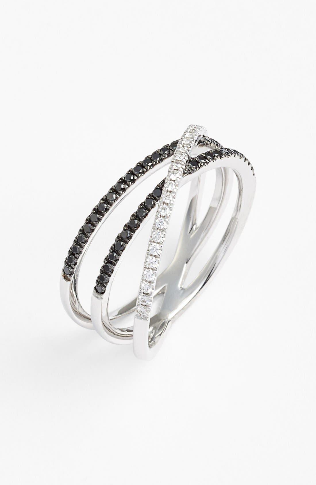 Crossover Three-Row Diamond Ring,                             Main thumbnail 4, color,