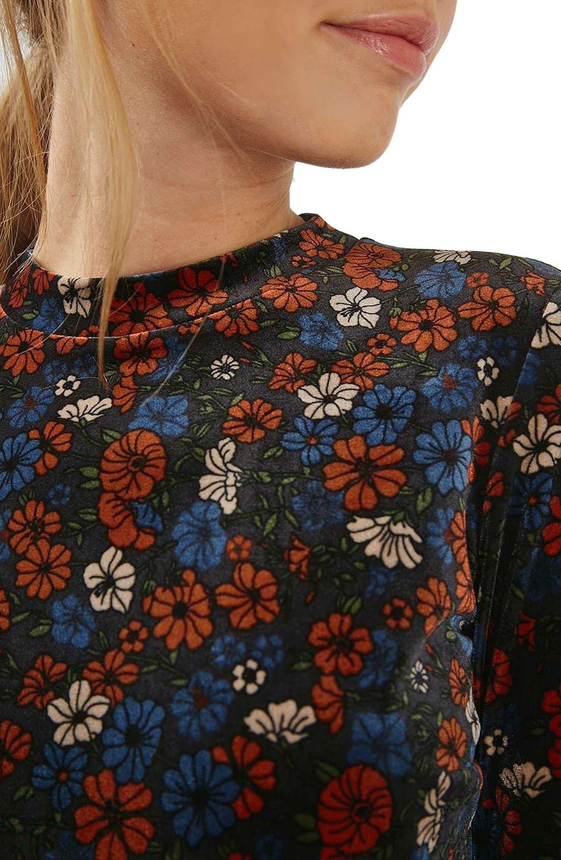 Ditsy Print Velvet Skater Dress,                             Alternate thumbnail 5, color,                             400