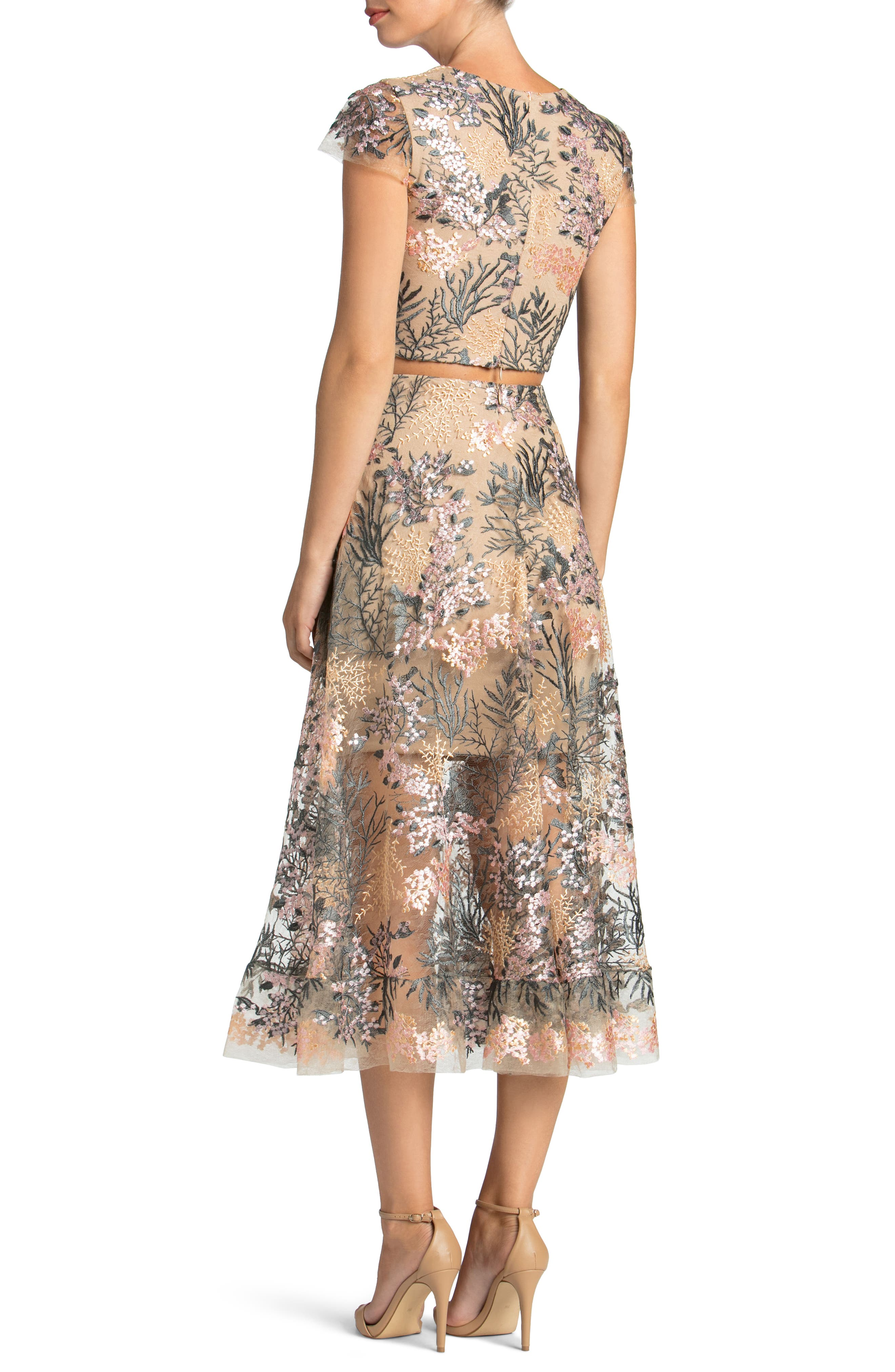 Juliana Embroidered Two-Piece Dress,                             Alternate thumbnail 2, color,                             PINK BLOSSOM