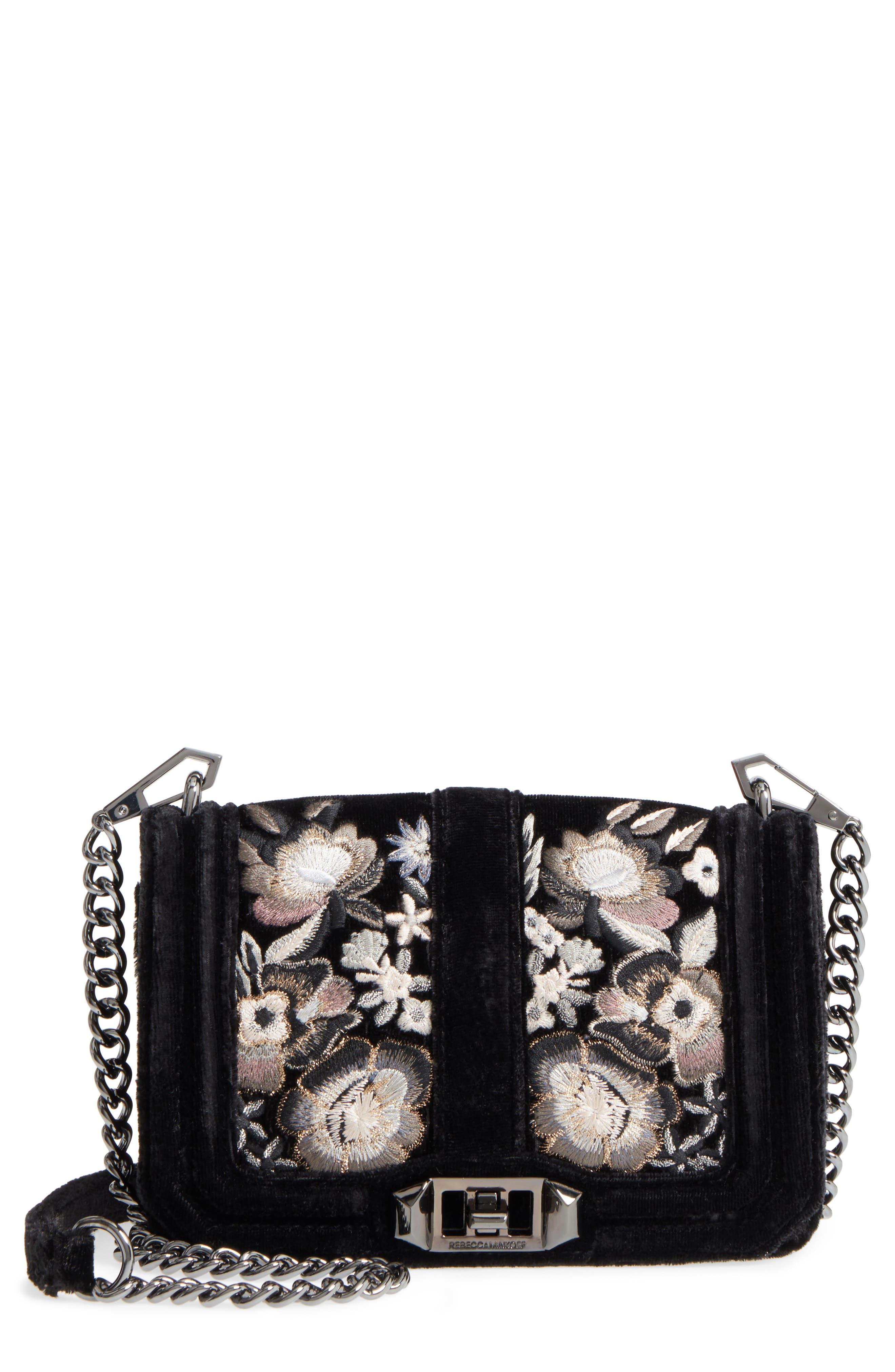 Small Love Floral Embroidery Velvet Crossbody Bag,                             Main thumbnail 1, color,                             001