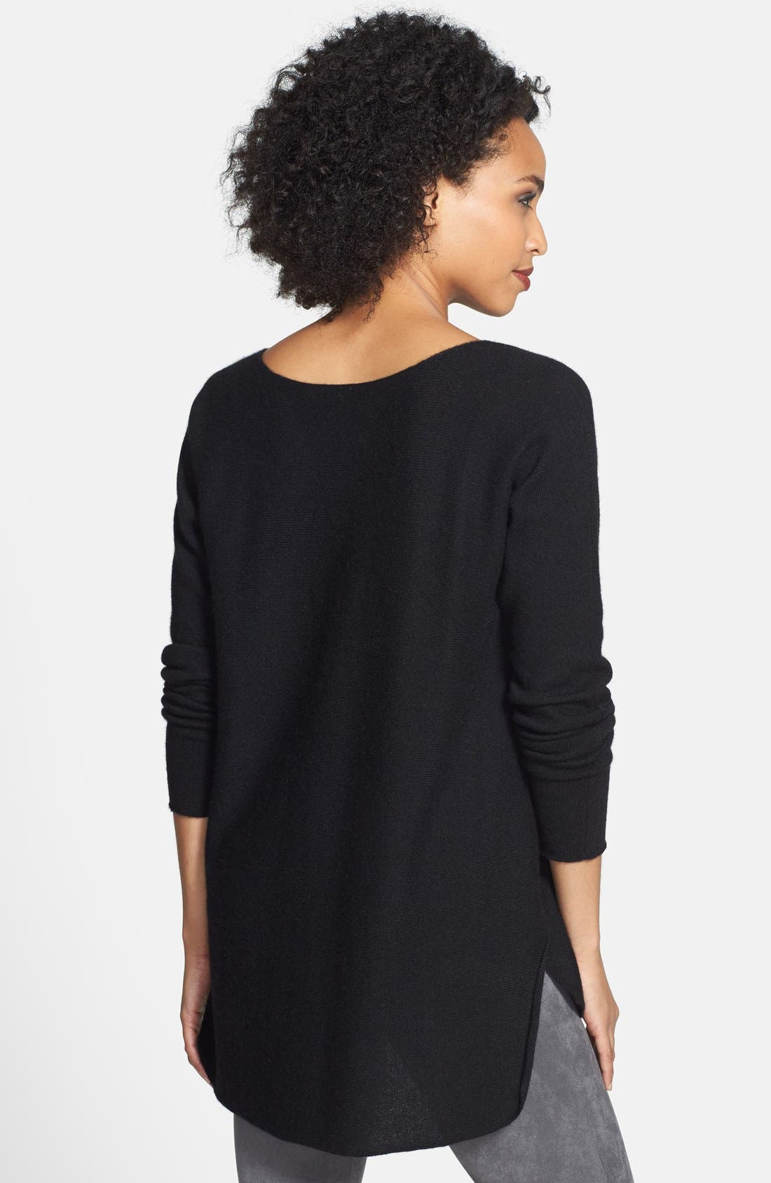 High/Low Cashmere Tunic Sweater,                             Alternate thumbnail 4, color,                             001
