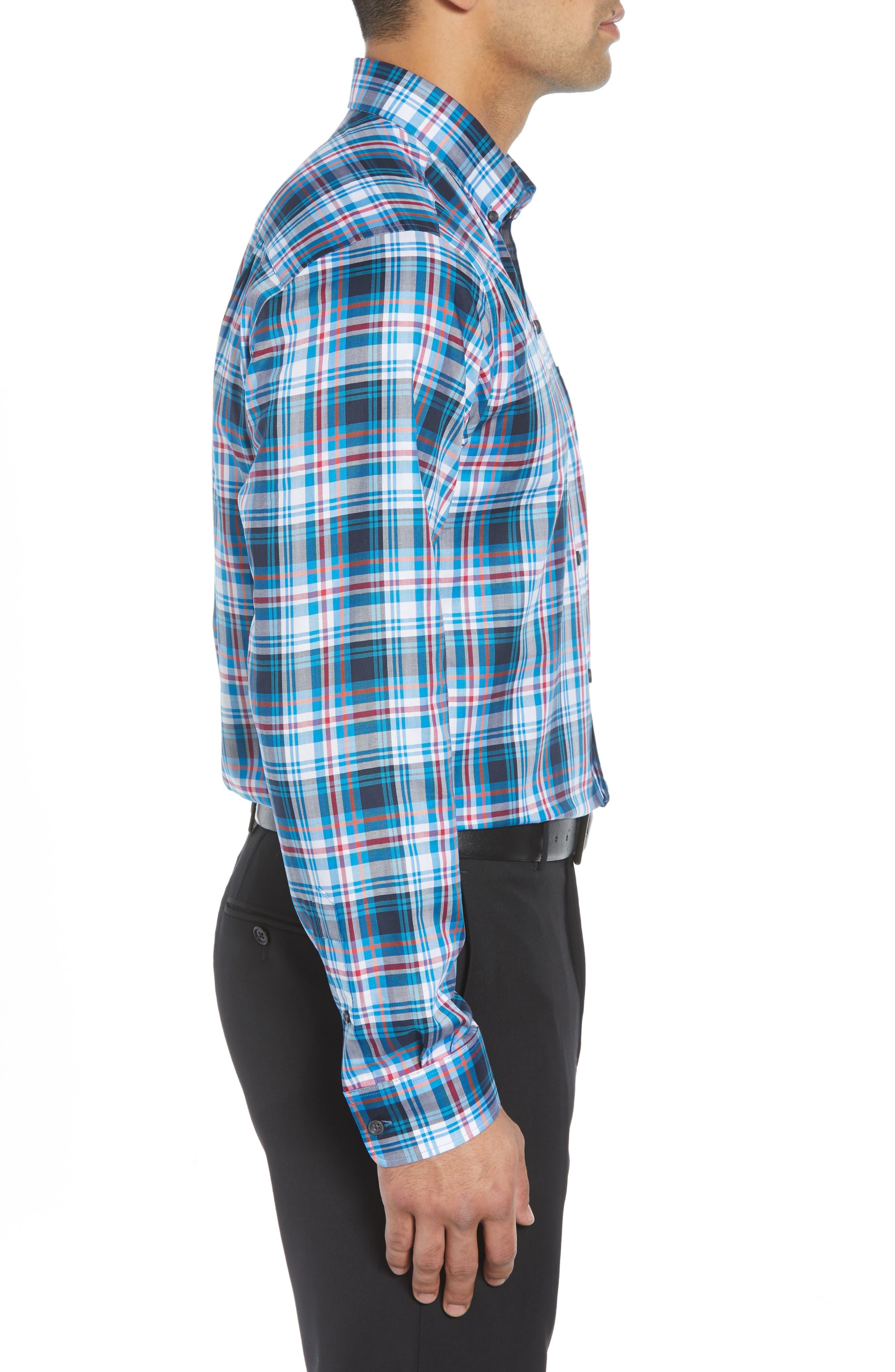 Brad Regular Fit Non-Iron Plaid Sport Shirt,                             Alternate thumbnail 4, color,                             LIBERTY NAVY