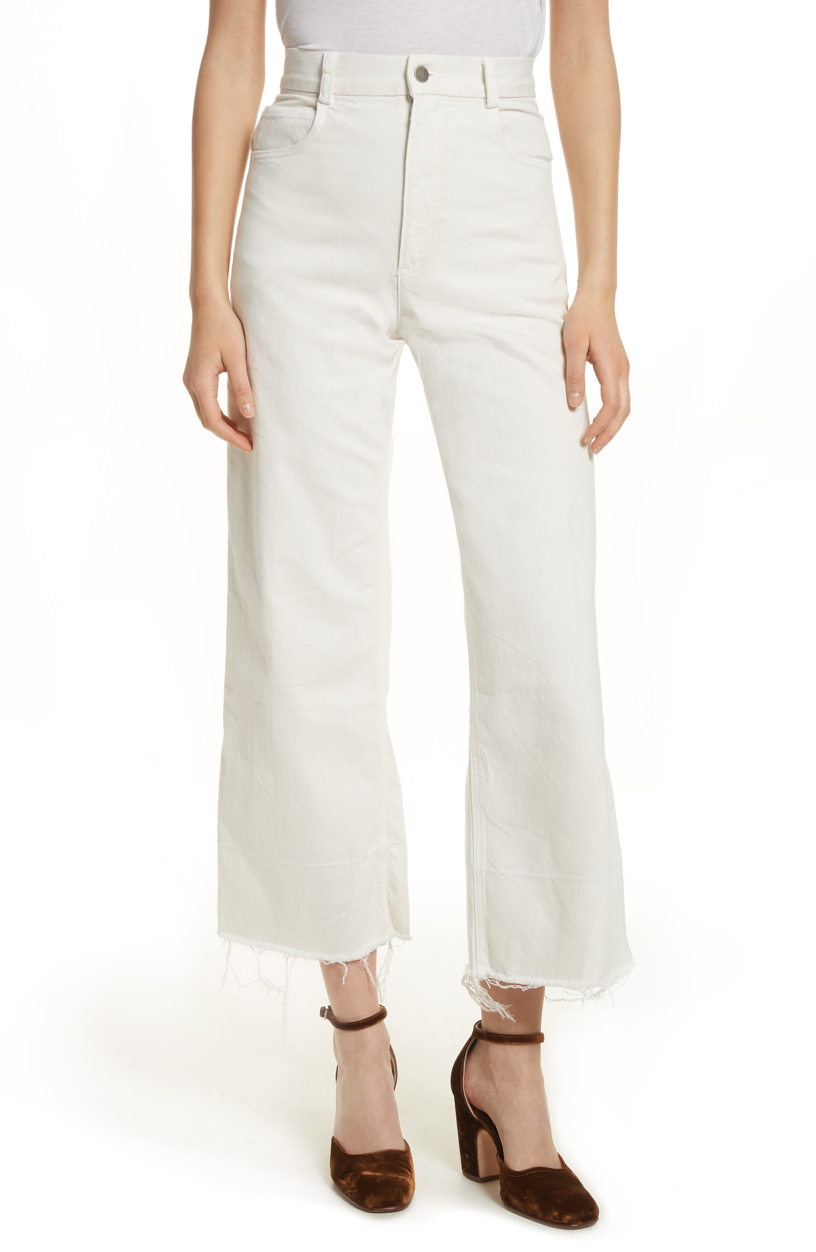 Rachey Comey Legion Crop Wide Leg Pants,                             Main thumbnail 1, color,                             DIRTY WHITE