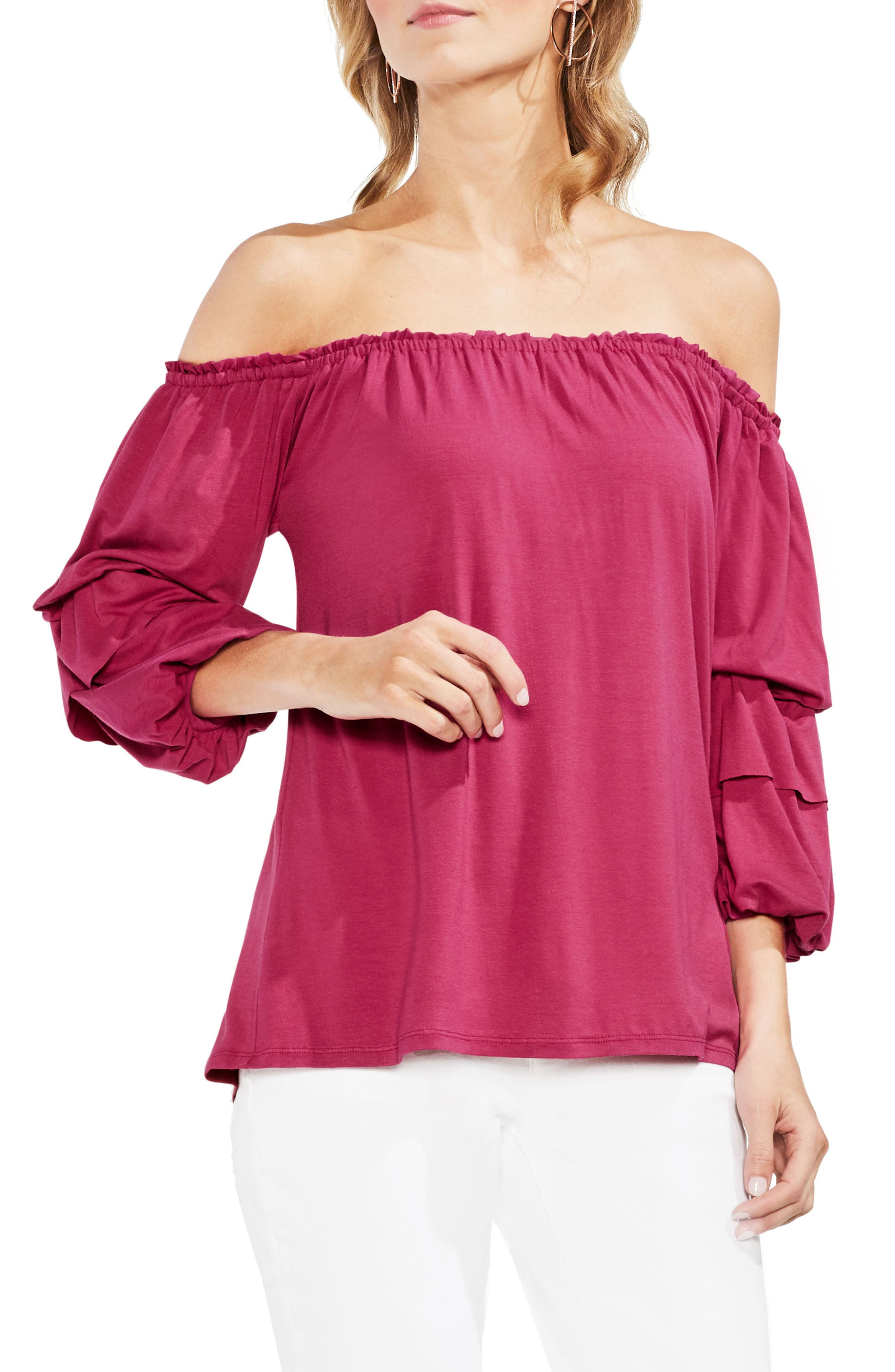 Off The Shoulder Tiered Top,                             Main thumbnail 3, color,