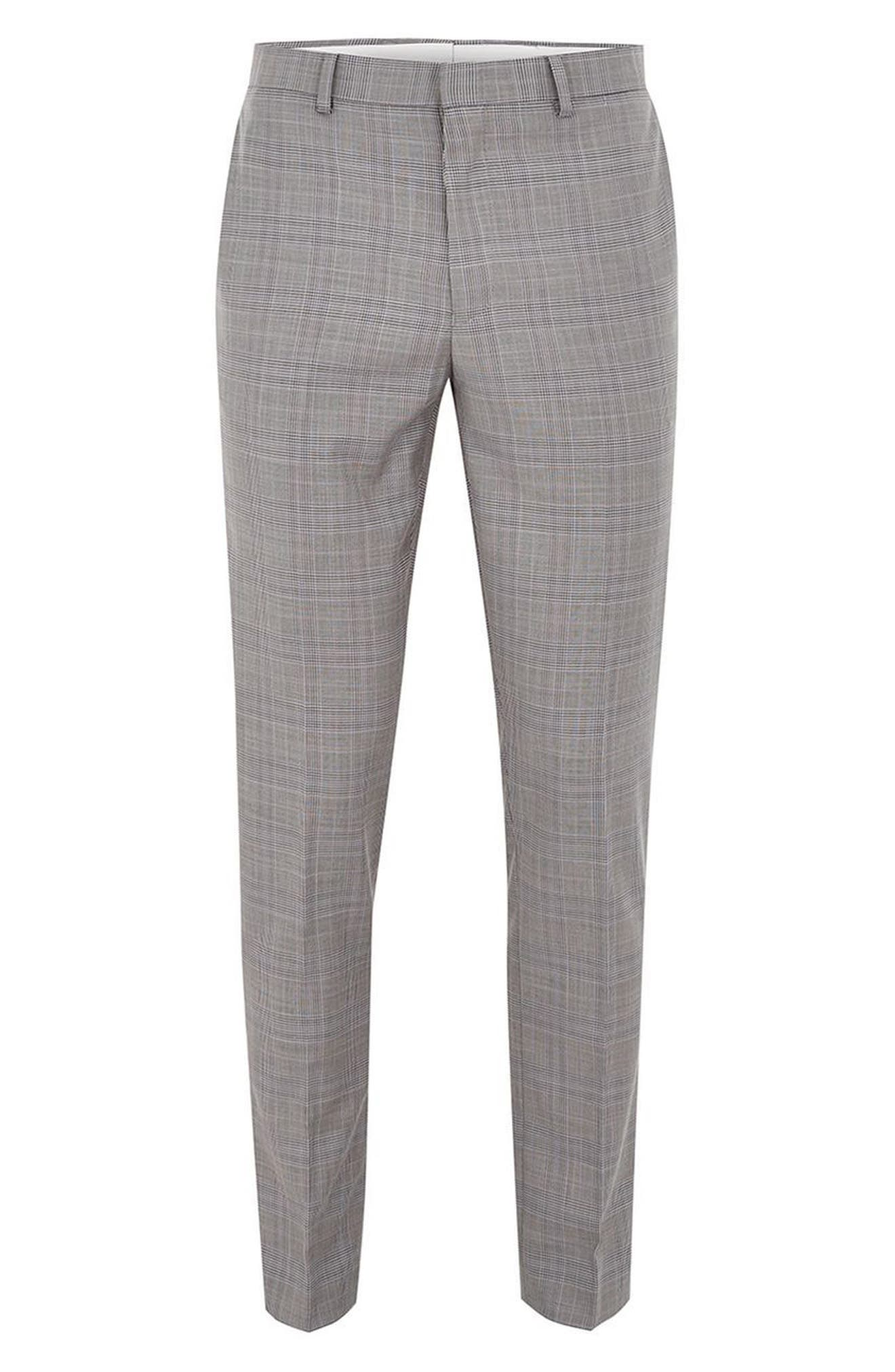 Skinny Fit Check Suit Trousers,                             Alternate thumbnail 4, color,                             020