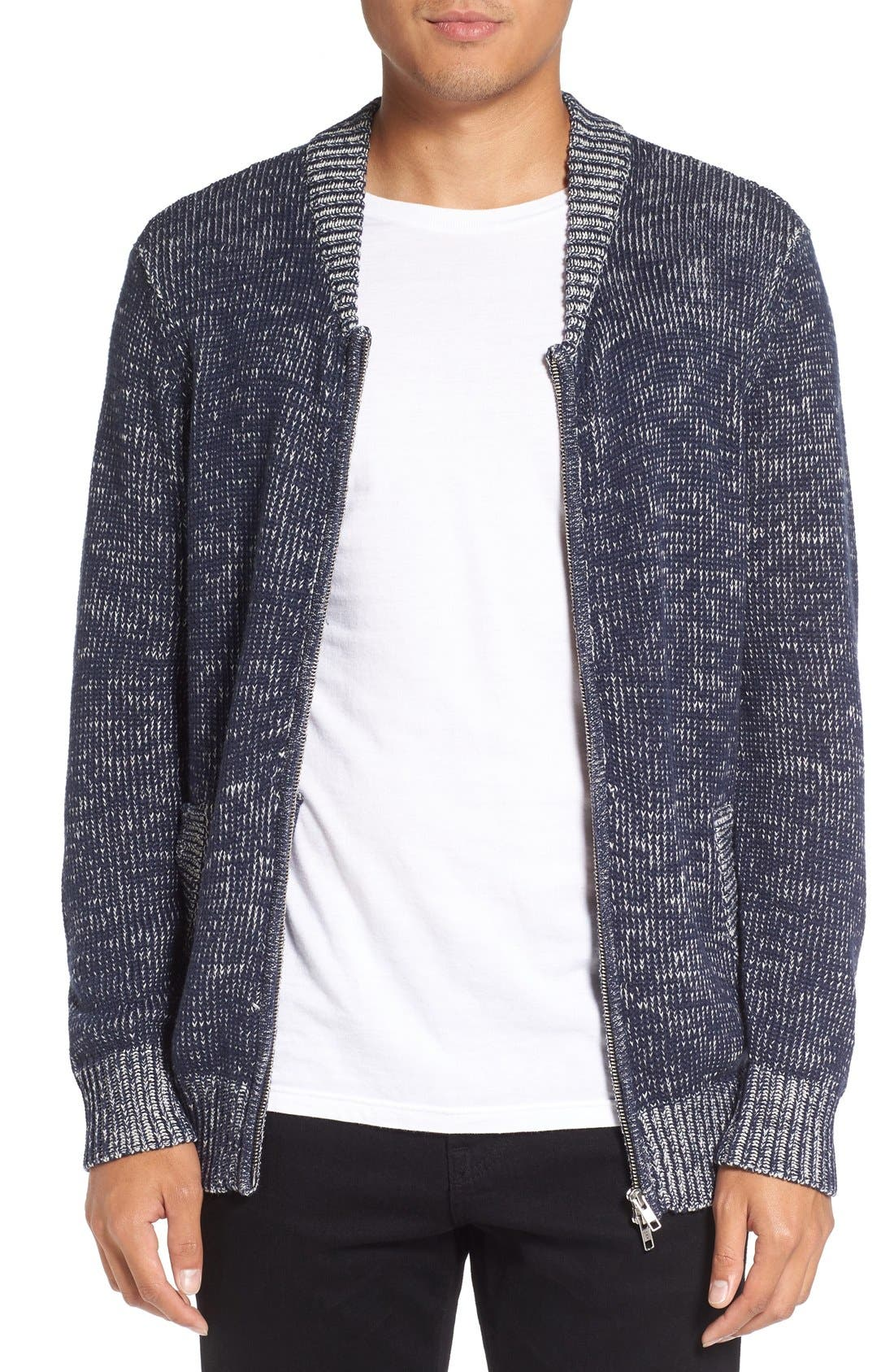 Two-Way Zip Mélange Sweater,                             Main thumbnail 1, color,                             410