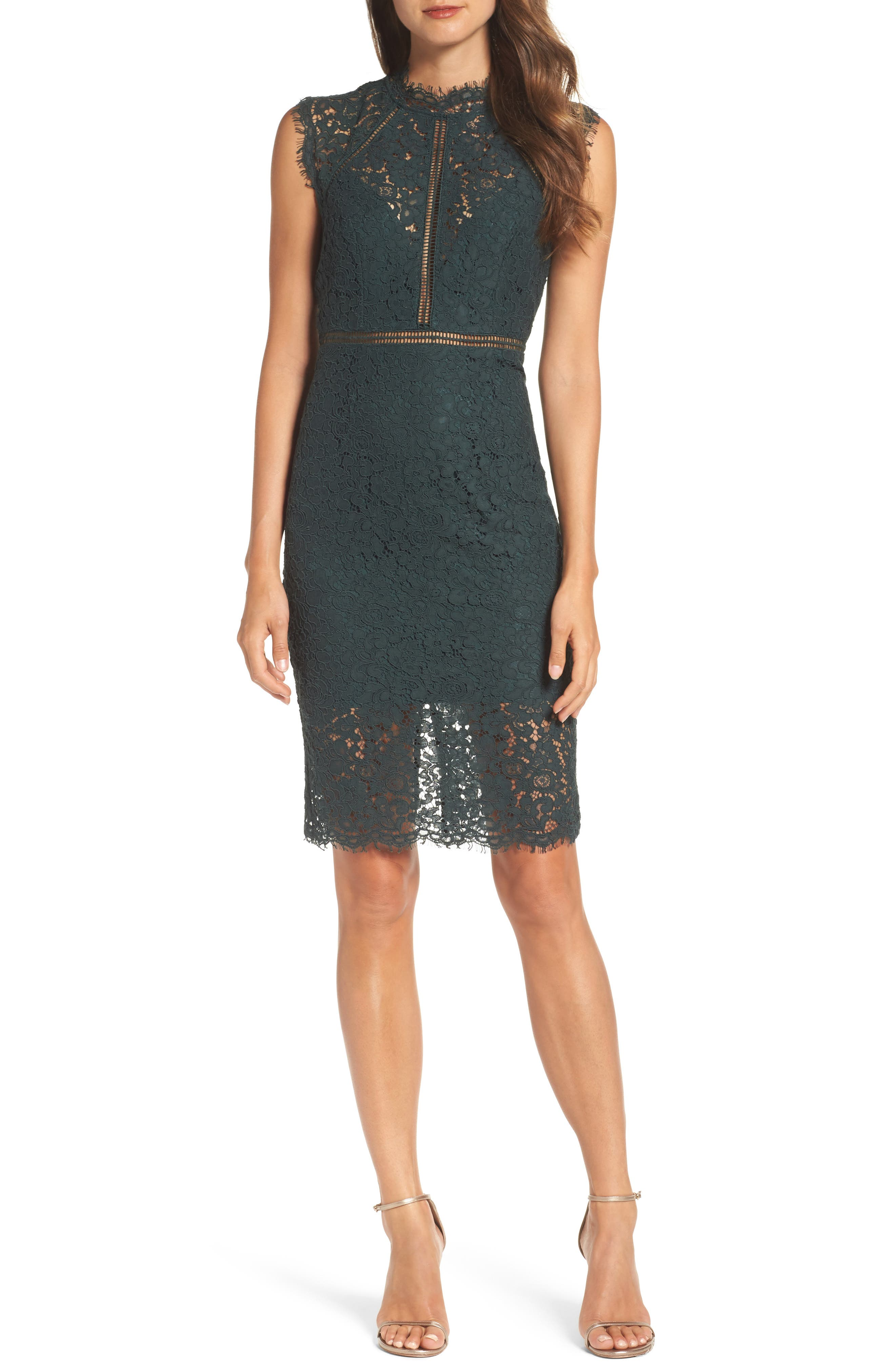Bardot Lace Sheath Dress, Green